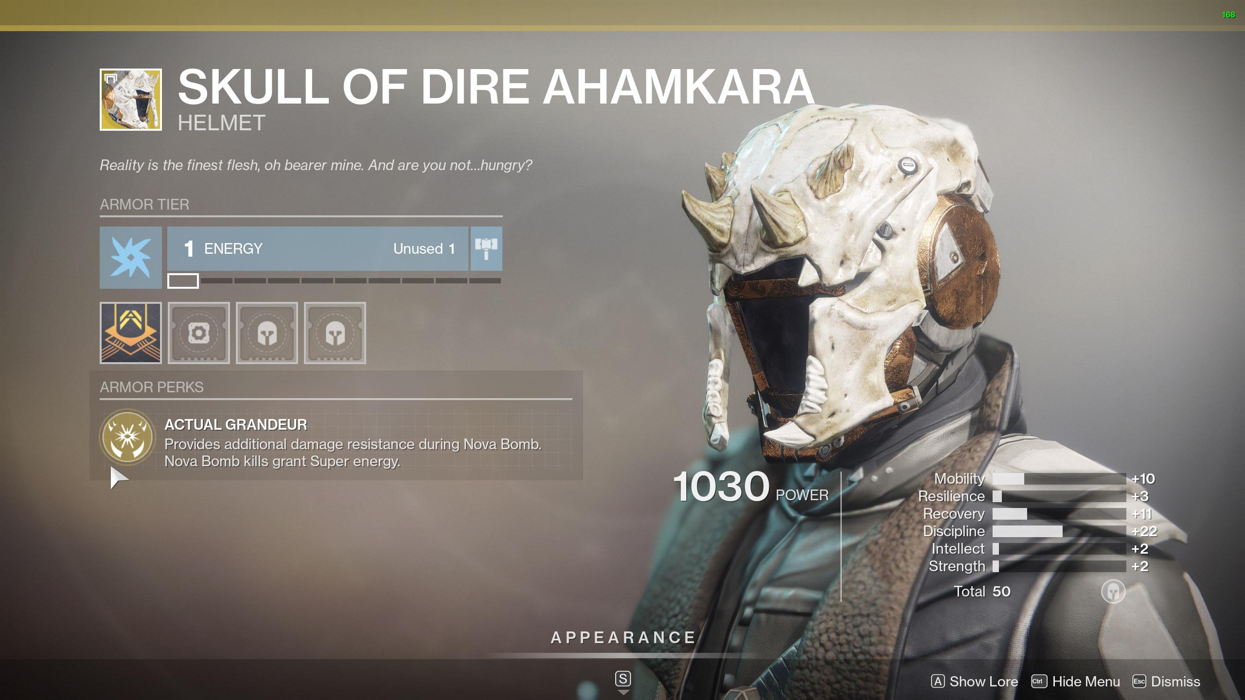 Destiny 2 Warlock Exotic Armor Skull of Dire Ahamkara