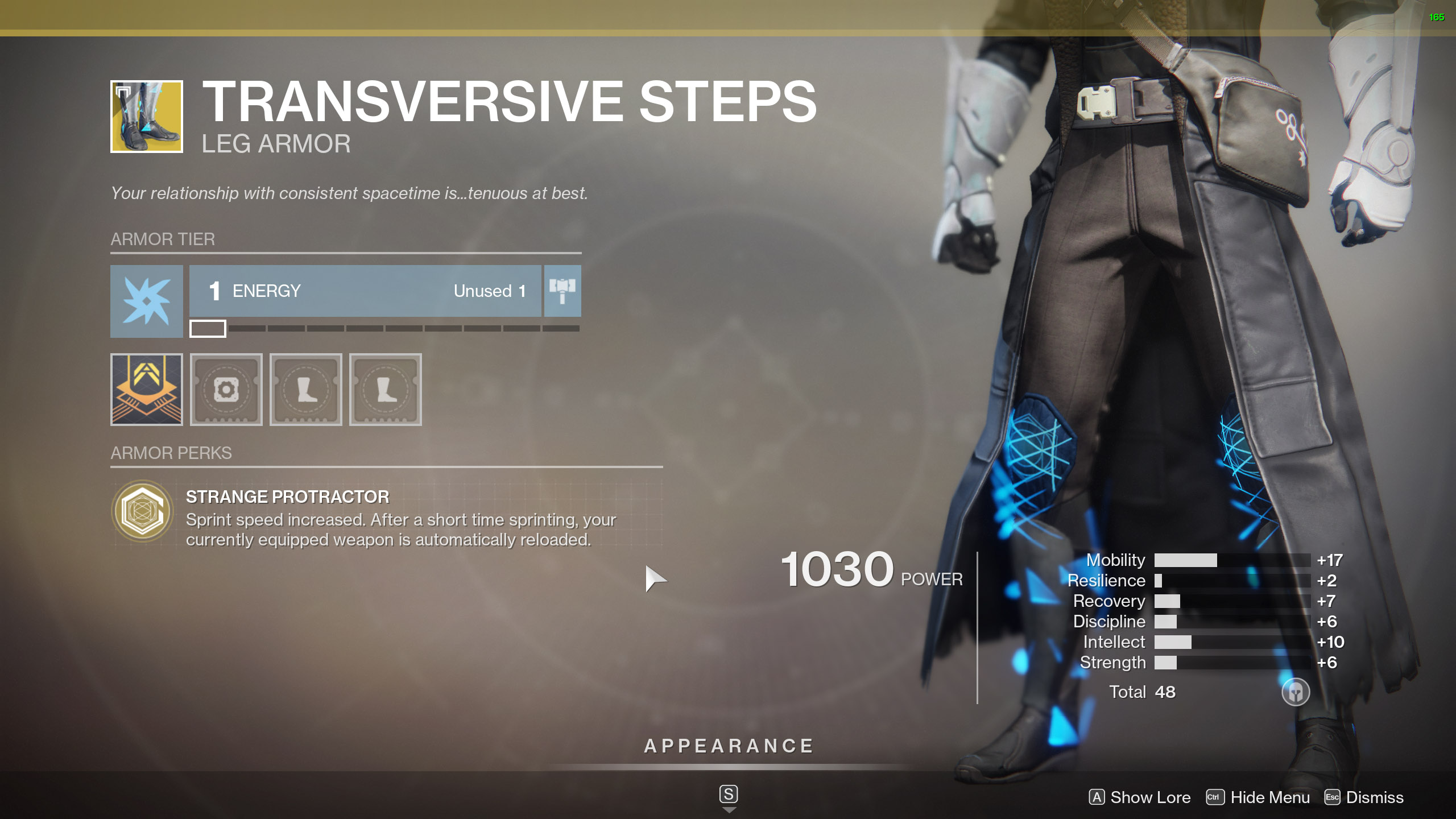 Destiny 2 Exotic Warlock Armor Transversive Steps