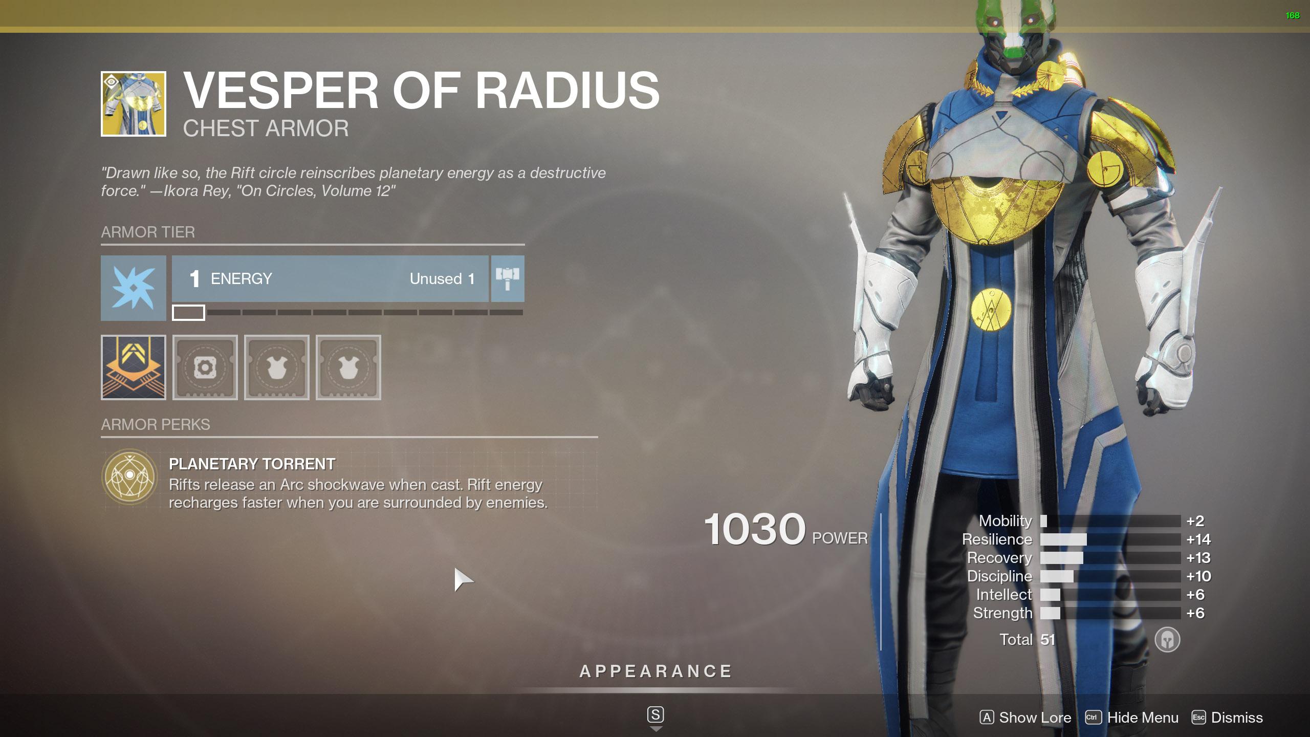 Destiny 2 Exotic Warlock Armor Vesper of Radius