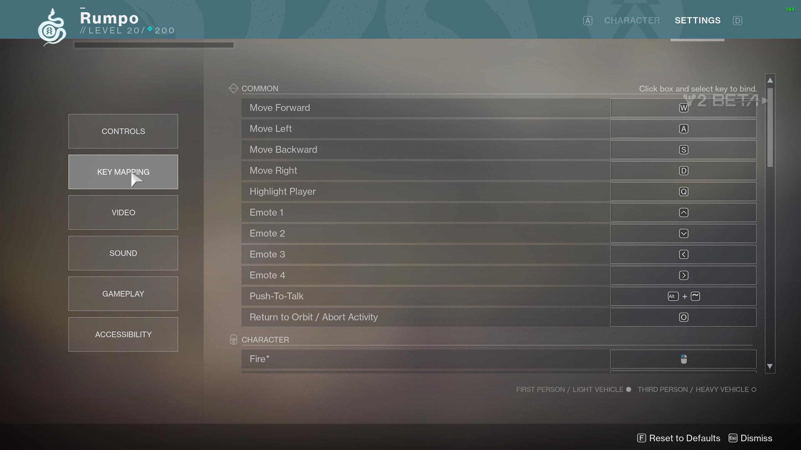 Destiny 2 key mappings