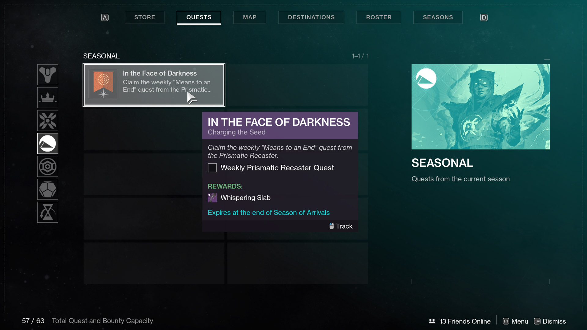 destiny 2 season of arrivals in the face of darkness Charging the Seed