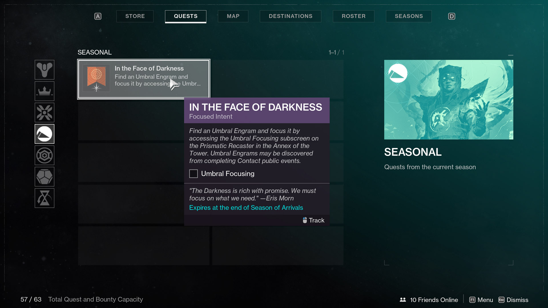 destiny 2 season of arrivals in the face of darkness Focused Intent