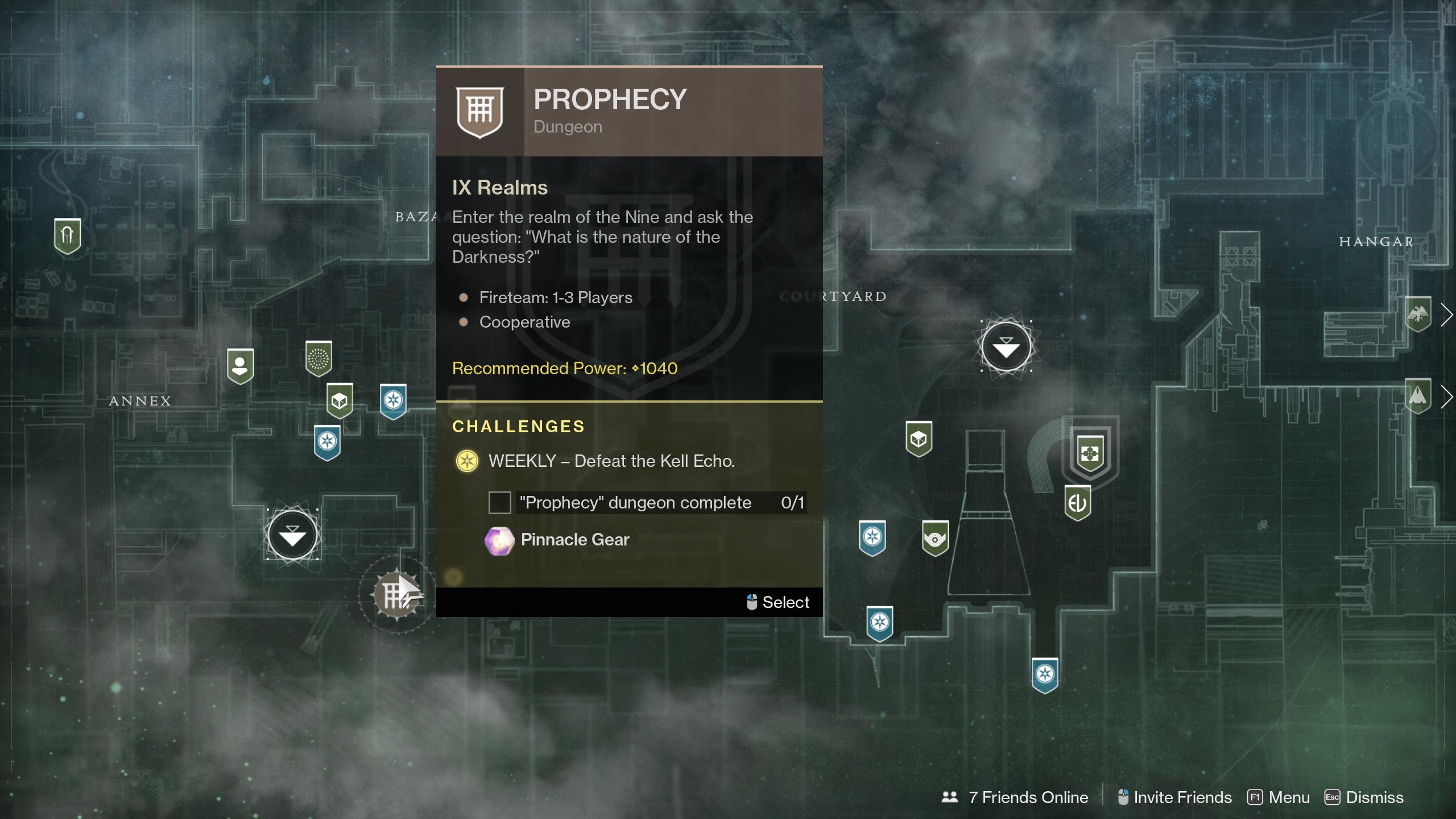 Destiny 2 Start Prophecy Dungeon