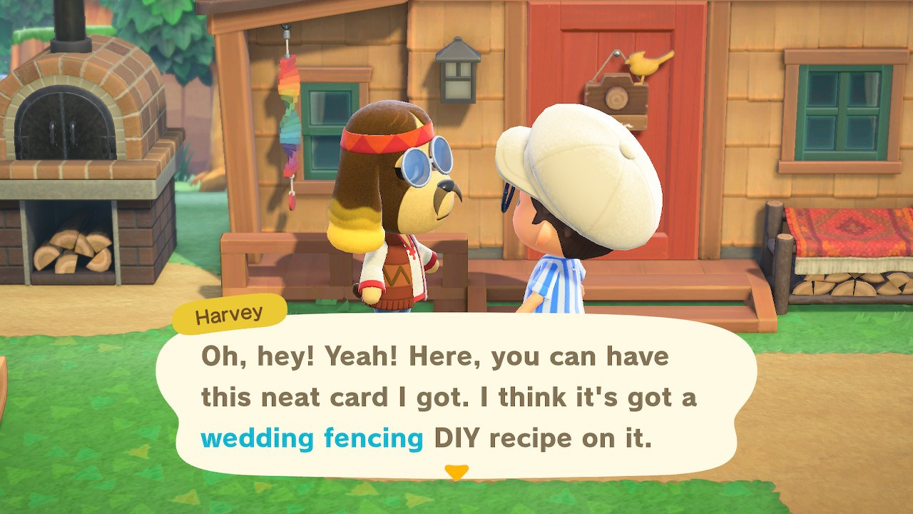 Talk to Harvey to pick up the Wedding Fence DIY - Animal Crossing: New Horizons