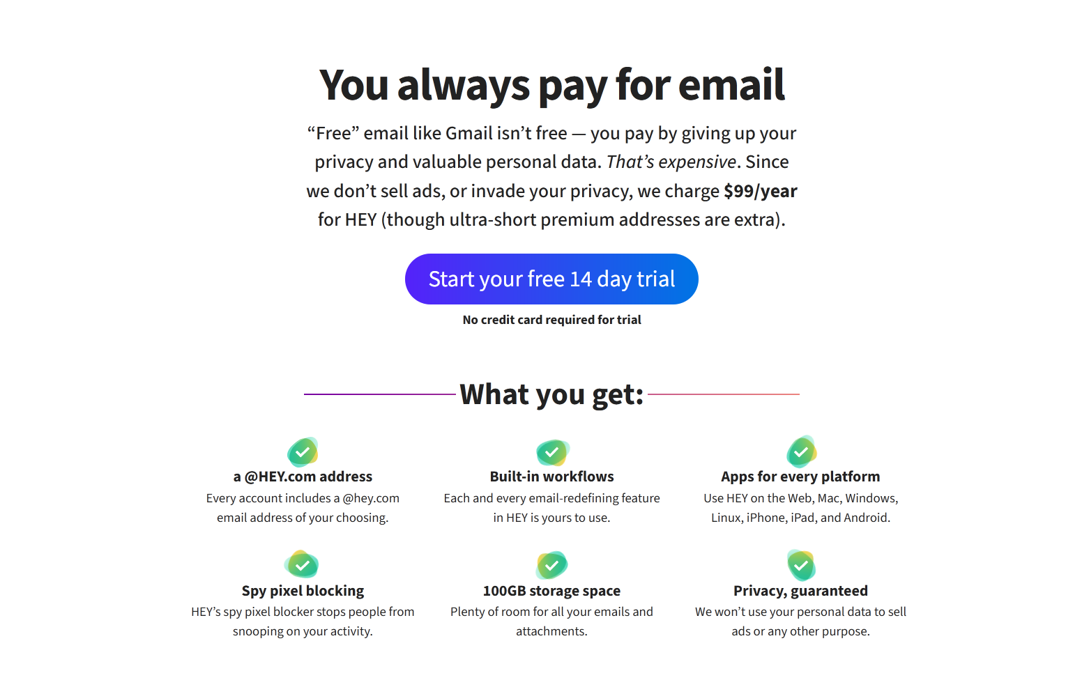 A quick look at Hey email's pricing