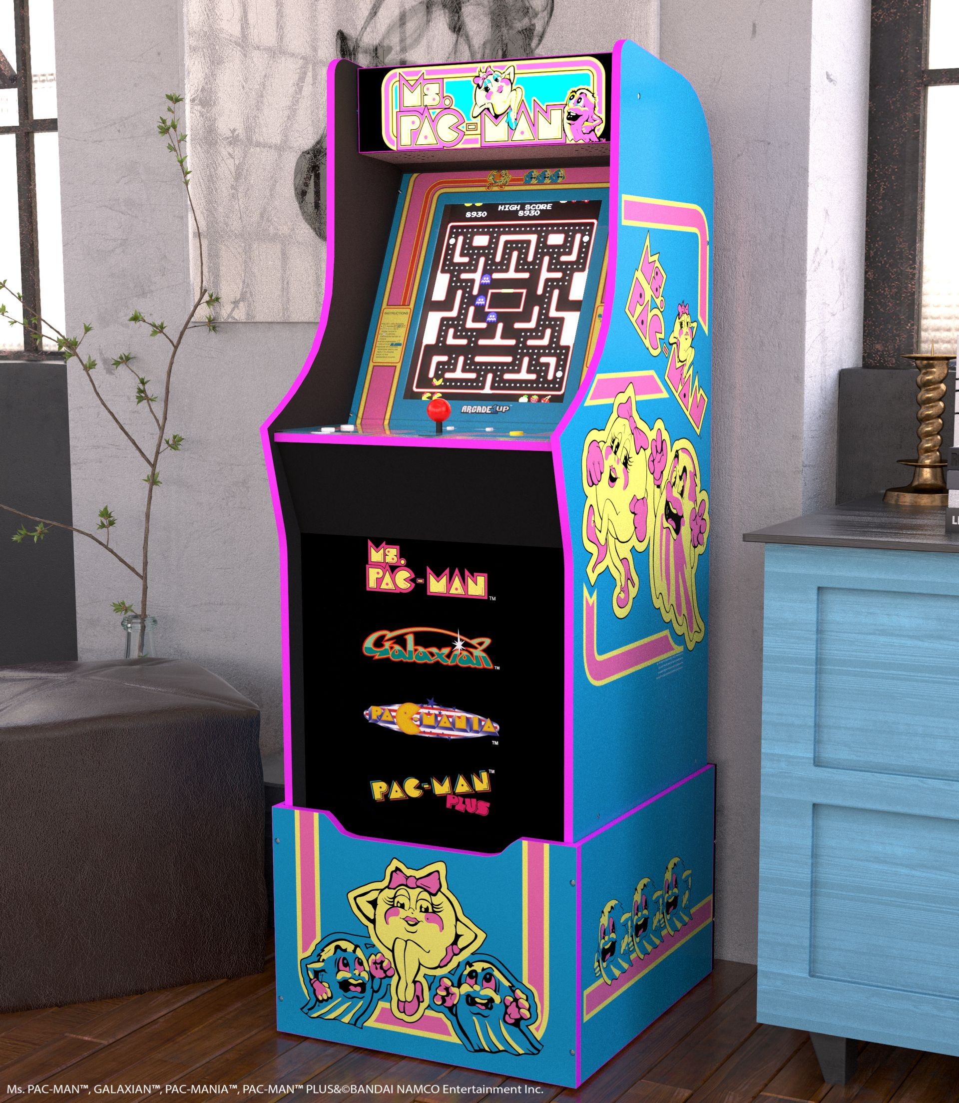 Ms. Pac-Man makes her debut as part of Arcade1Up's roster.