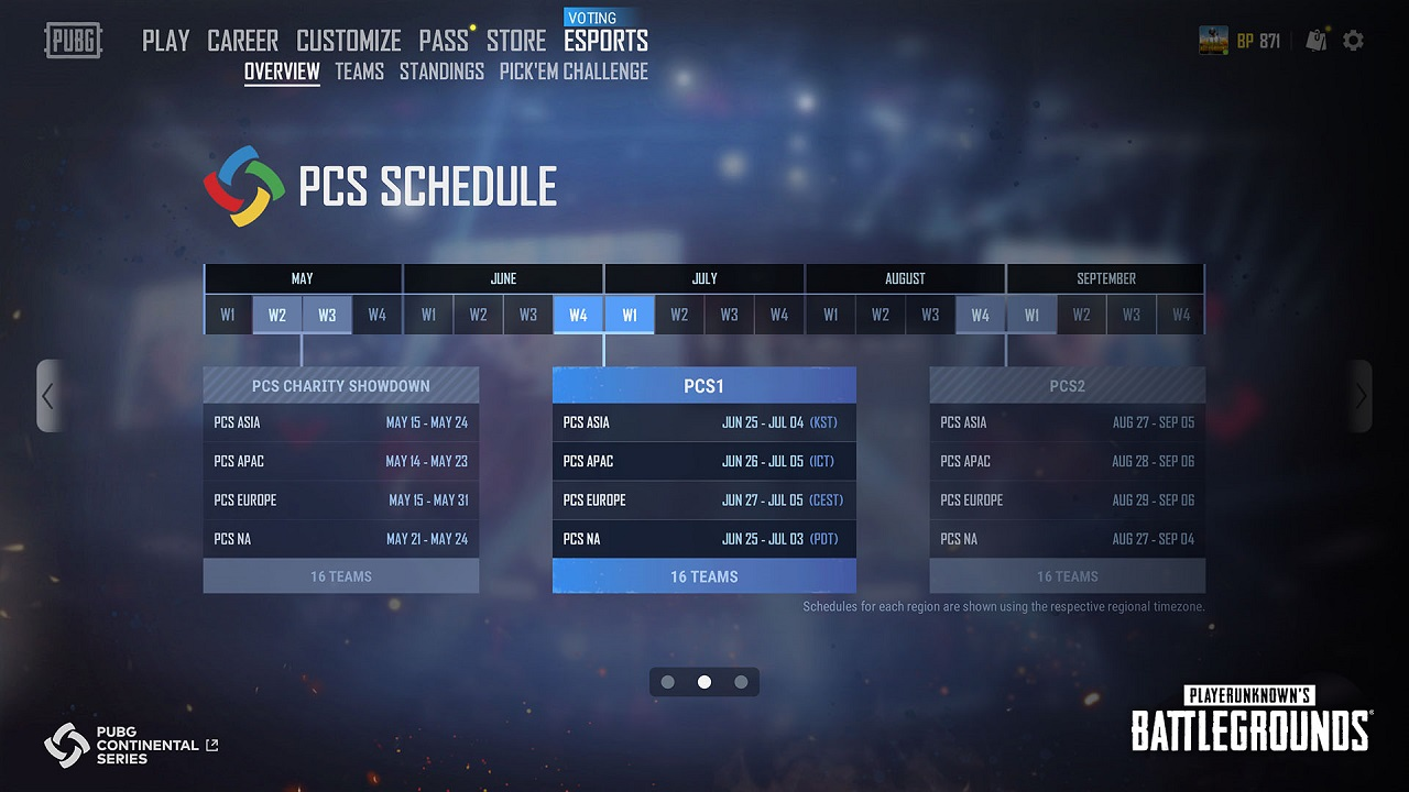 PUBG Update 7.3's new esports tab will make it easy to follow PUBG esports events like the upcoming PCS Charity Showdown.