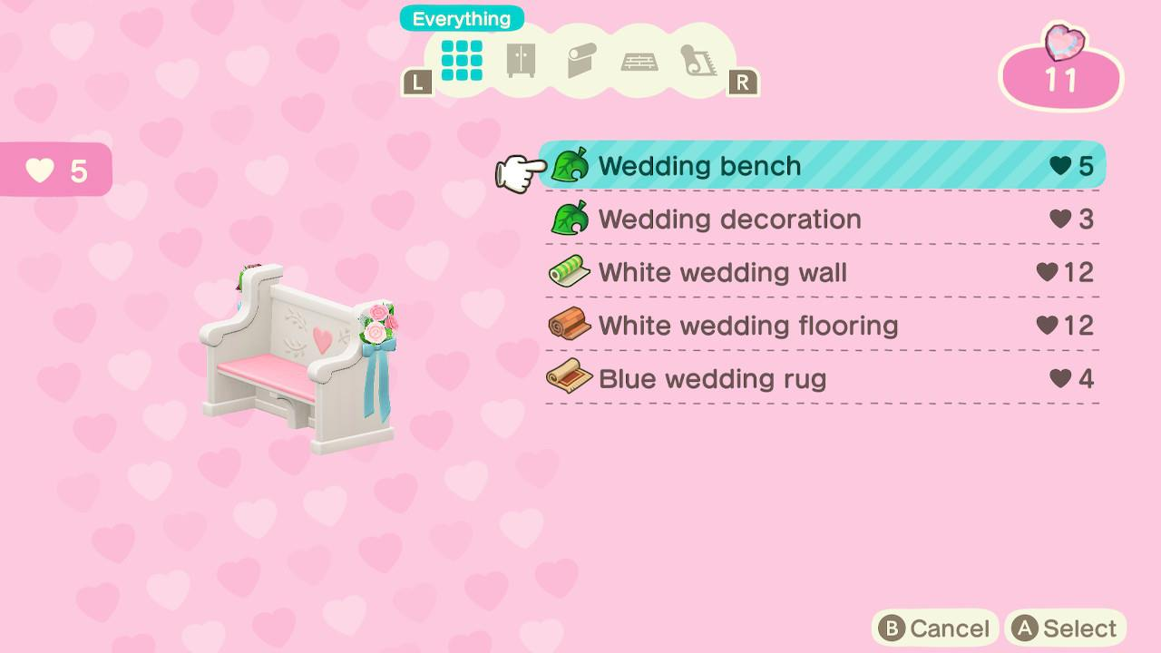 Animal Crossing: New Horizons Wedding furniture and clothing