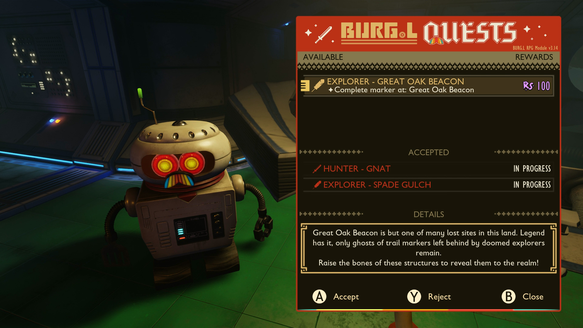 BURGL raw science quests Grounded