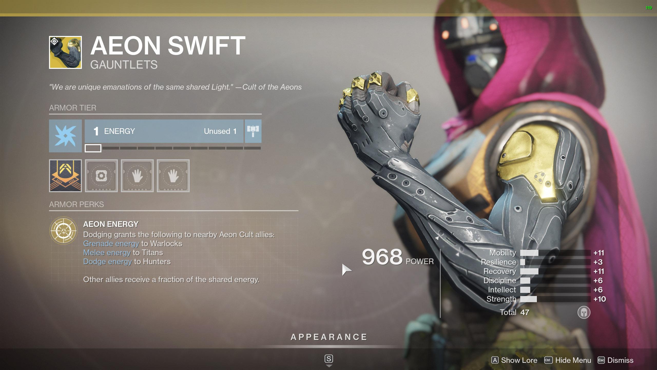 Destiny 2 Exotic Hunter armor Aeon Swift