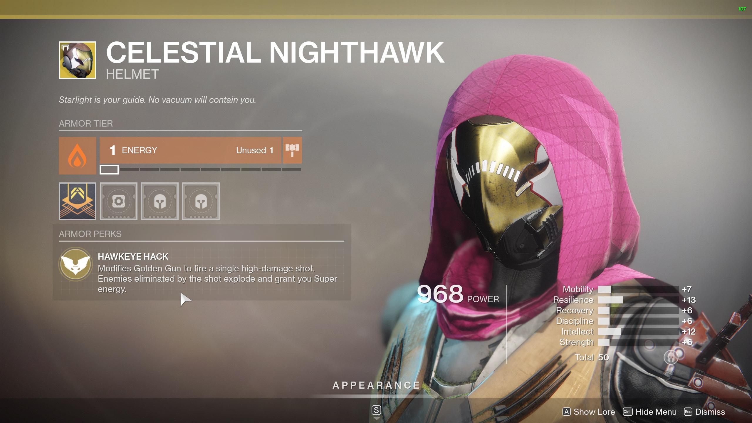 Destiny 2 Exotic Hunter armor Celestial Nighthawk