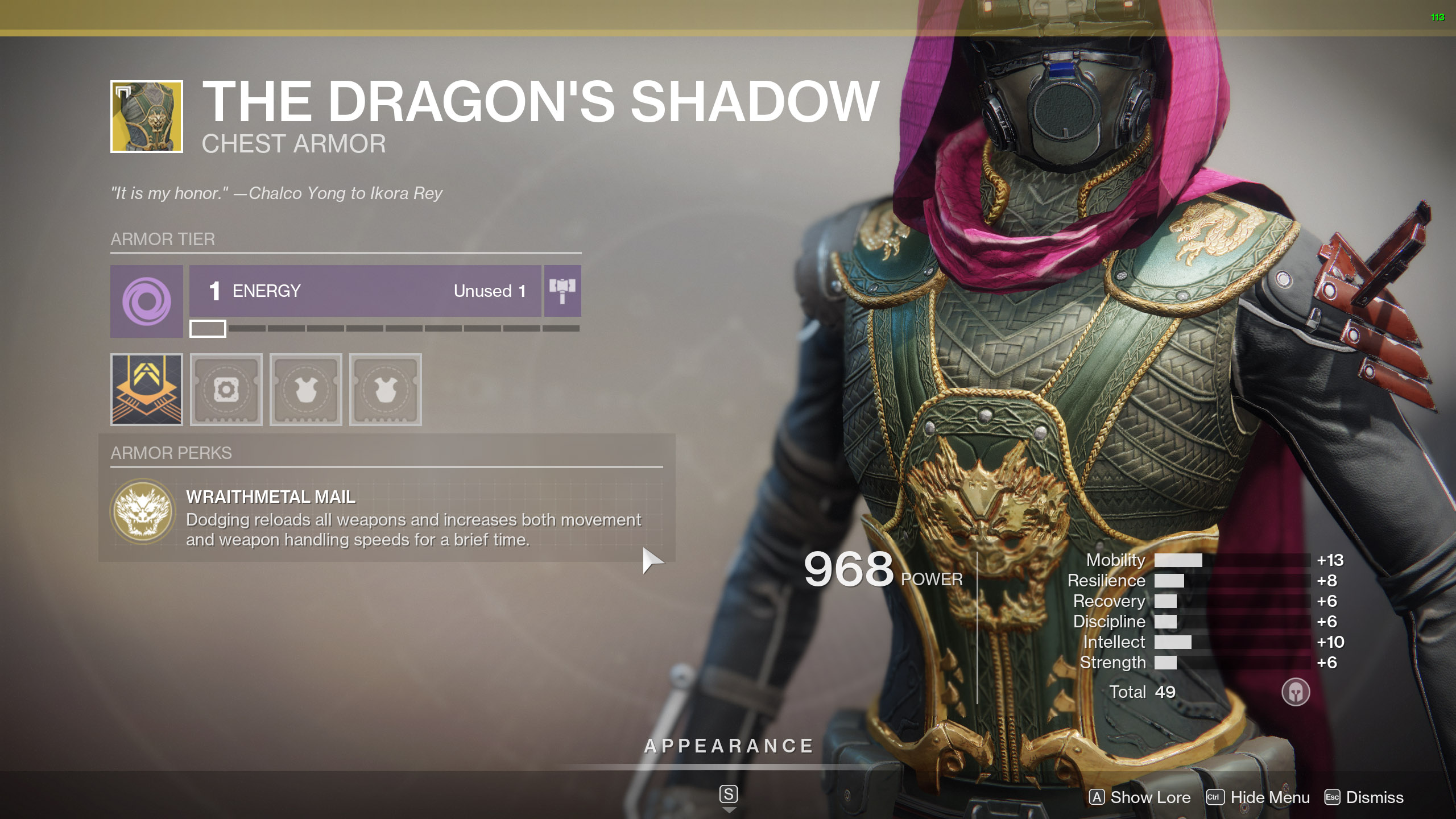Destiny 2 Exotic Hunter armor The Dragon's Shadow
