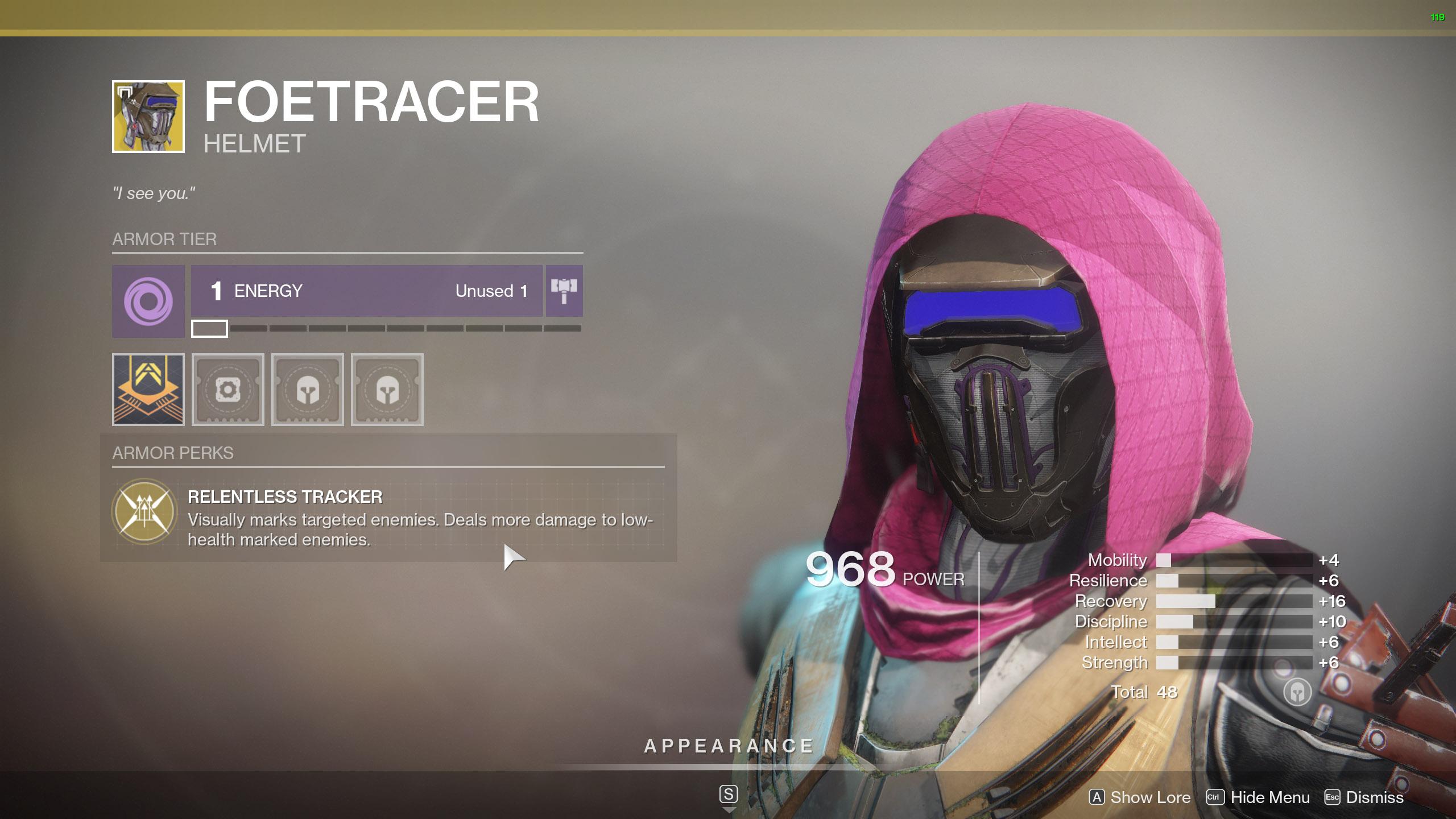 Destiny 2 Exotic Hunter armor Foetracer