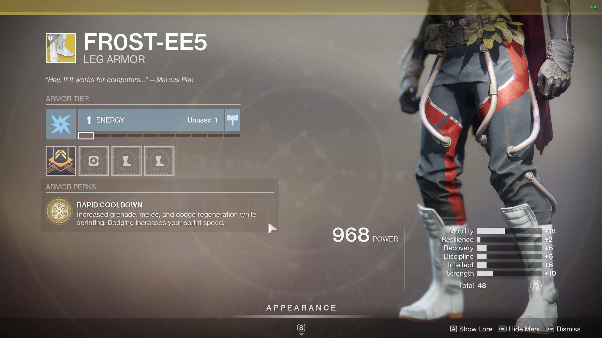 Destiny 2 Exotic Hunter armor Fr0st-EE5