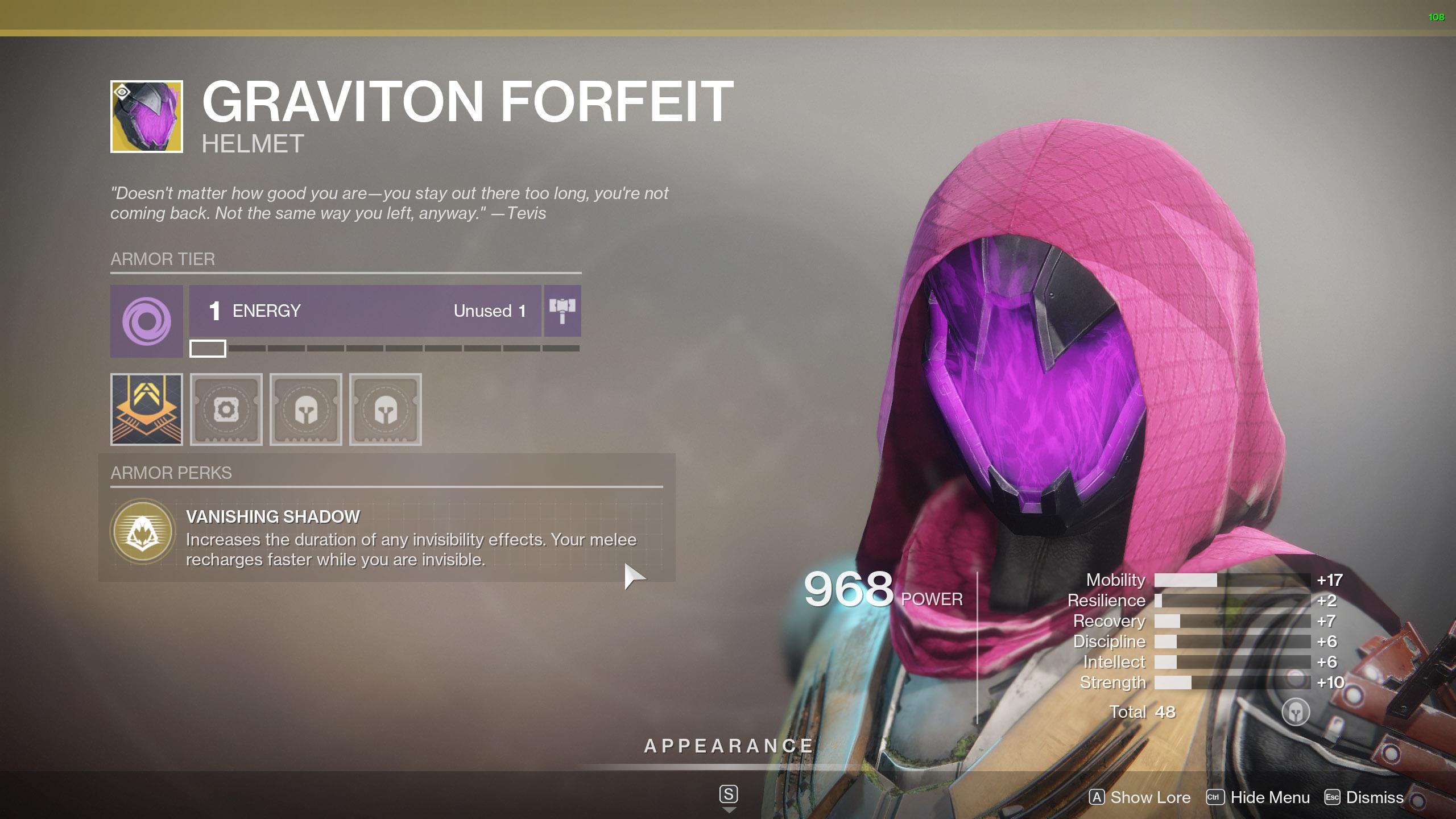 Destiny 2 Exotic Hunter armor Graviton Forfeit