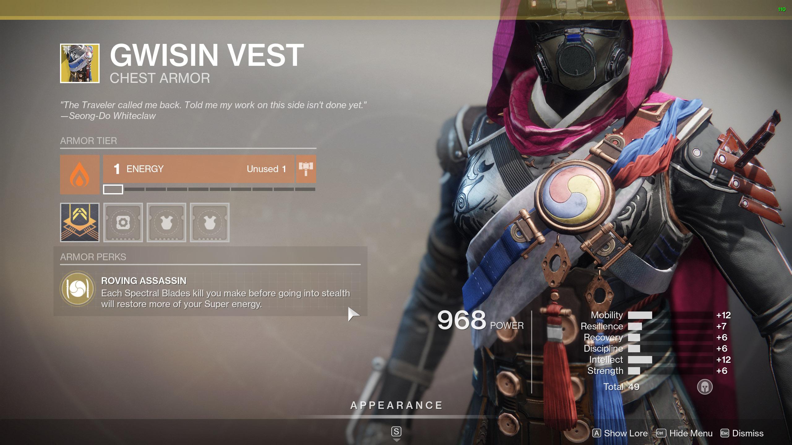 Destiny 2 Exotic Hunter armor Gwisin Vest