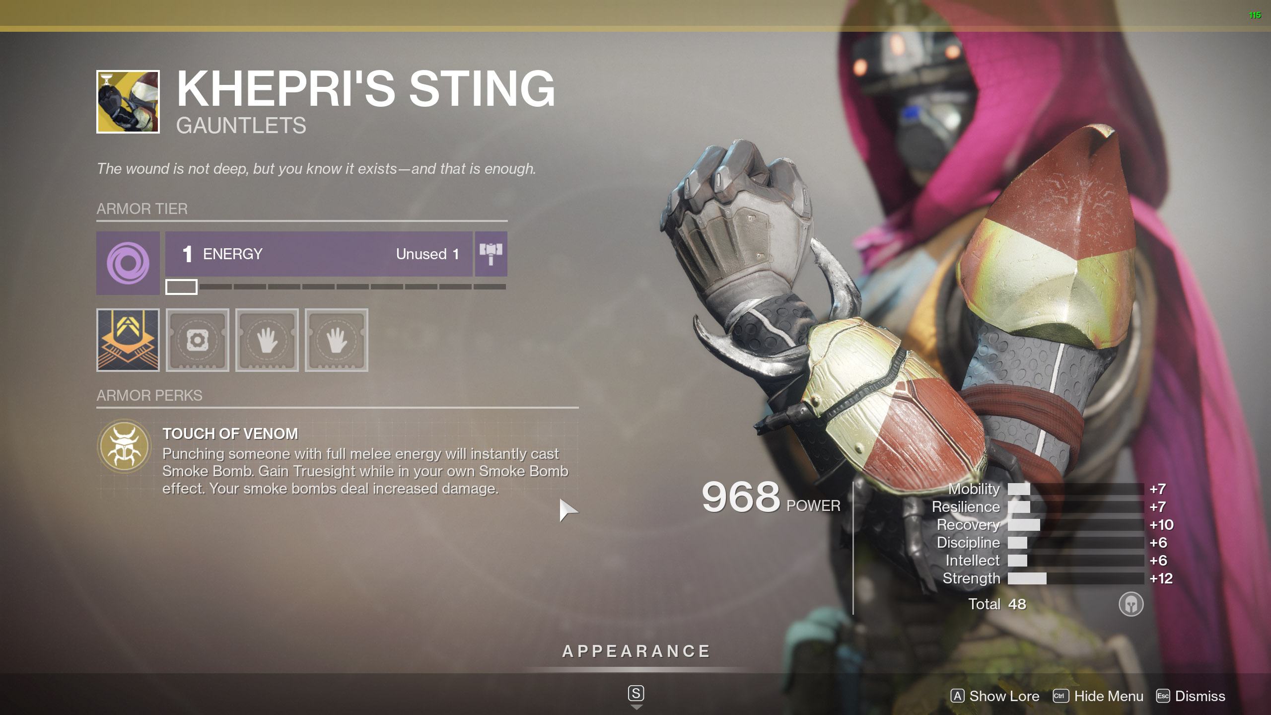 Destiny 2 Exotic Hunter armor Khepri's Sting