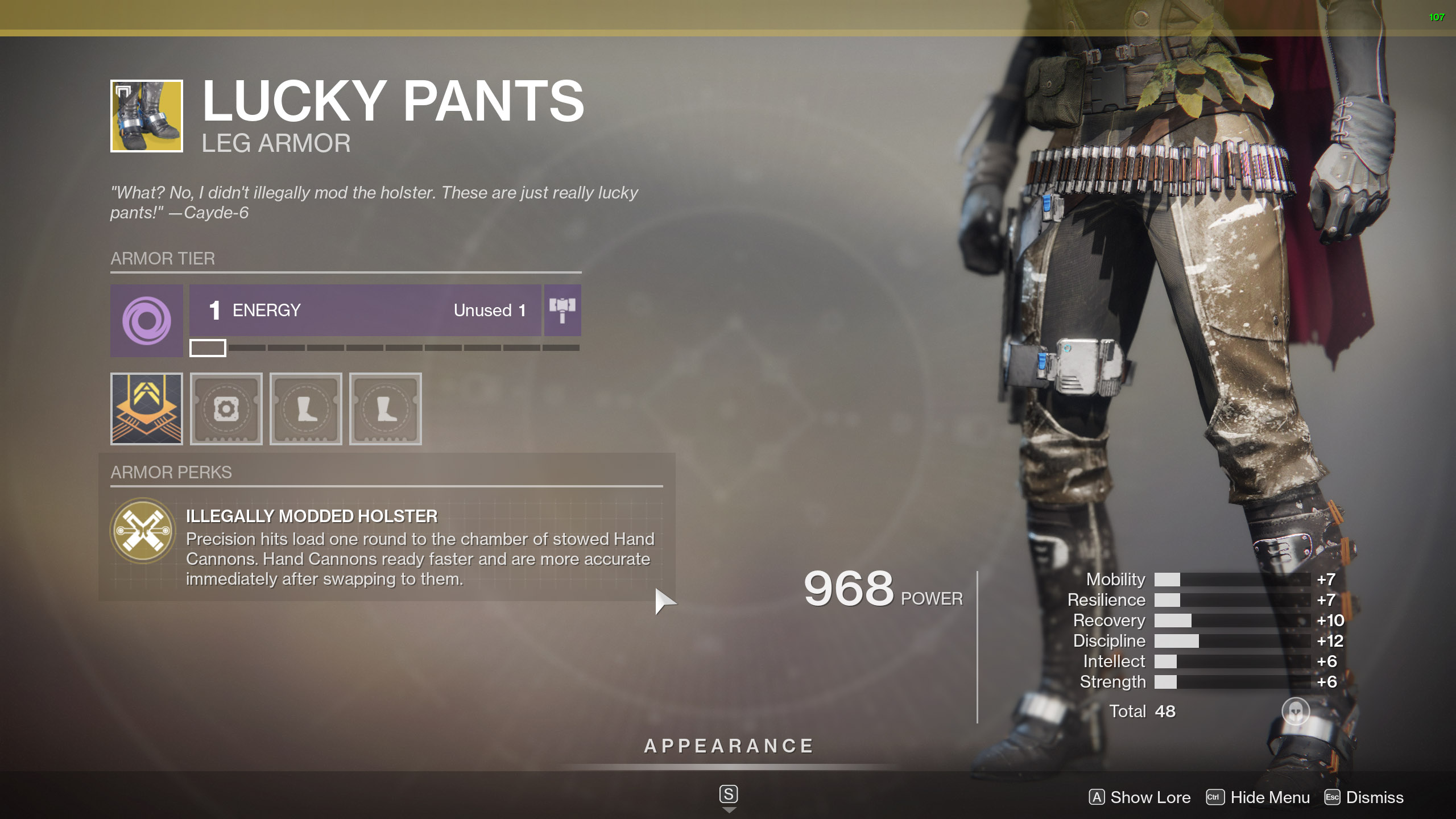 Destiny 2 Exotic Hunter armor Lucky Pants