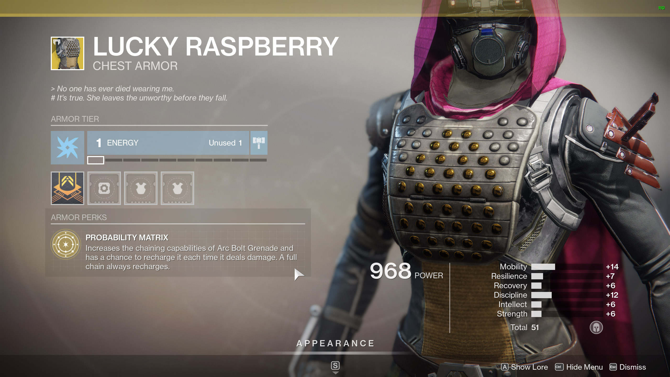 Destiny 2 Exotic Hunter armor Lucky Raspberry
