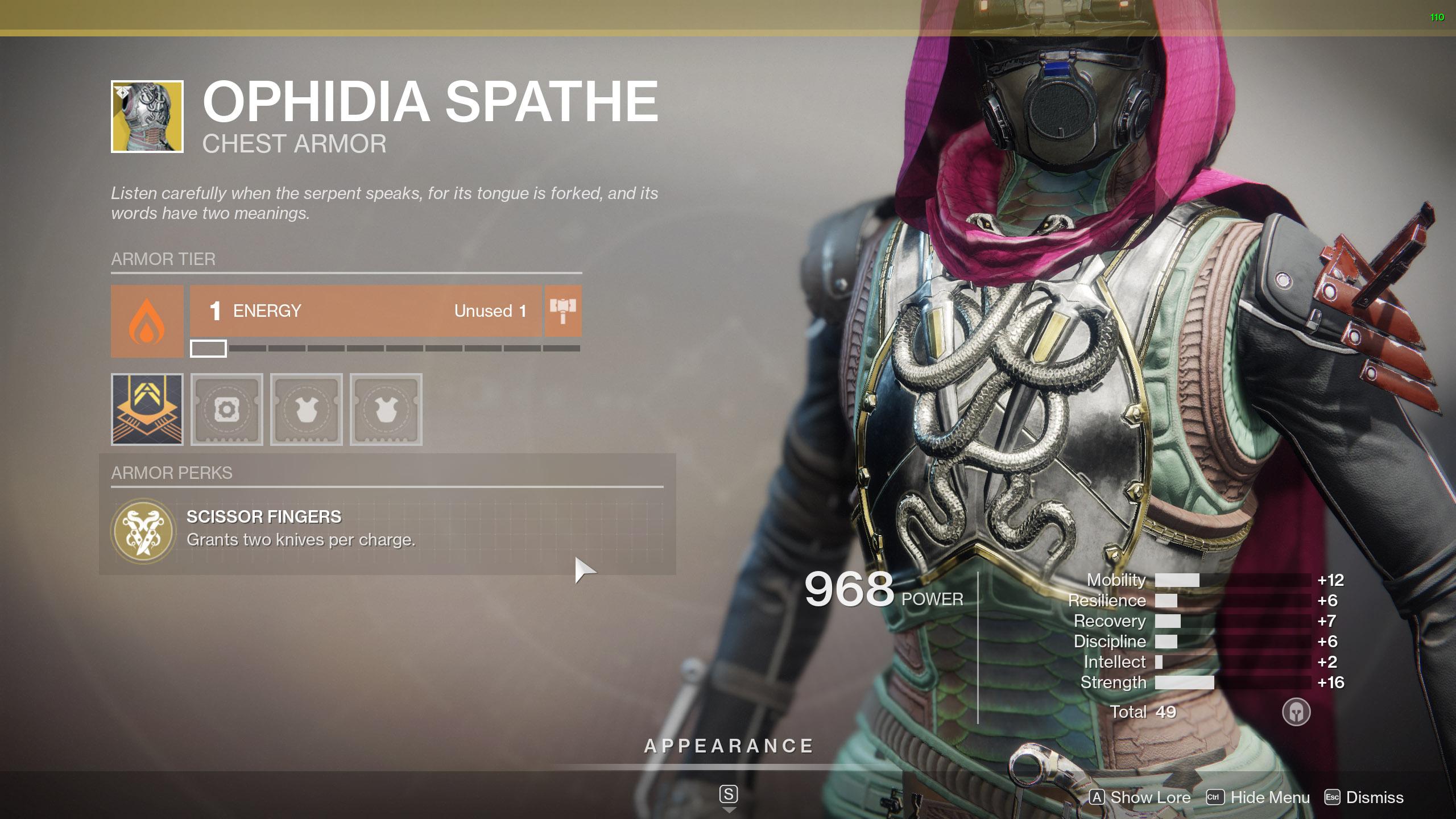 Destiny 2 Exotic Hunter armor Ophidia Spathe