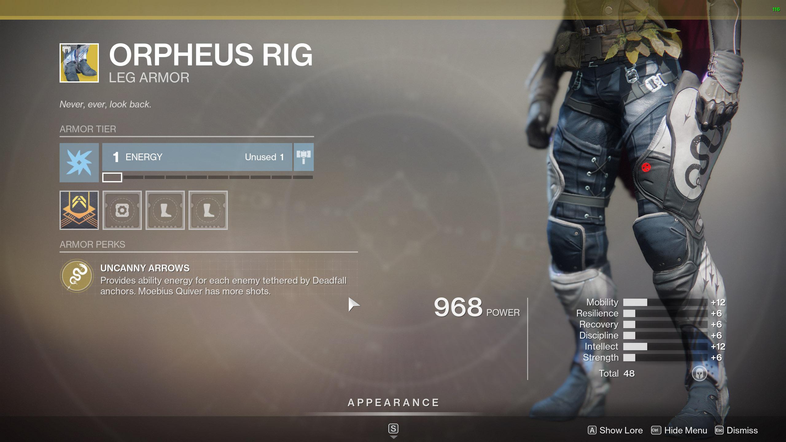 Destiny 2 Exotic Hunter armor Orpheus Rig