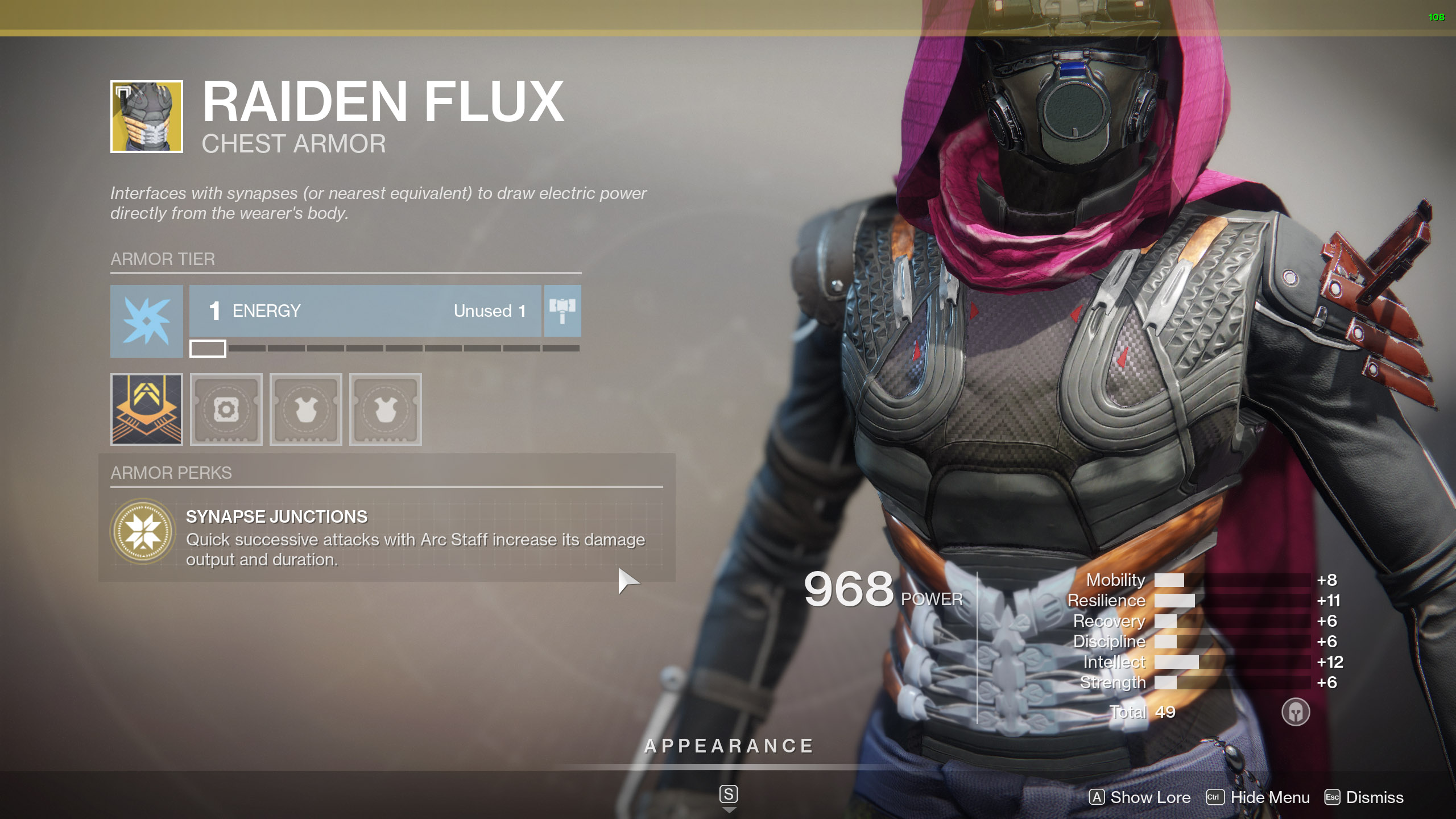 Destiny 2 Exotic Hunter armor Raiden Flux