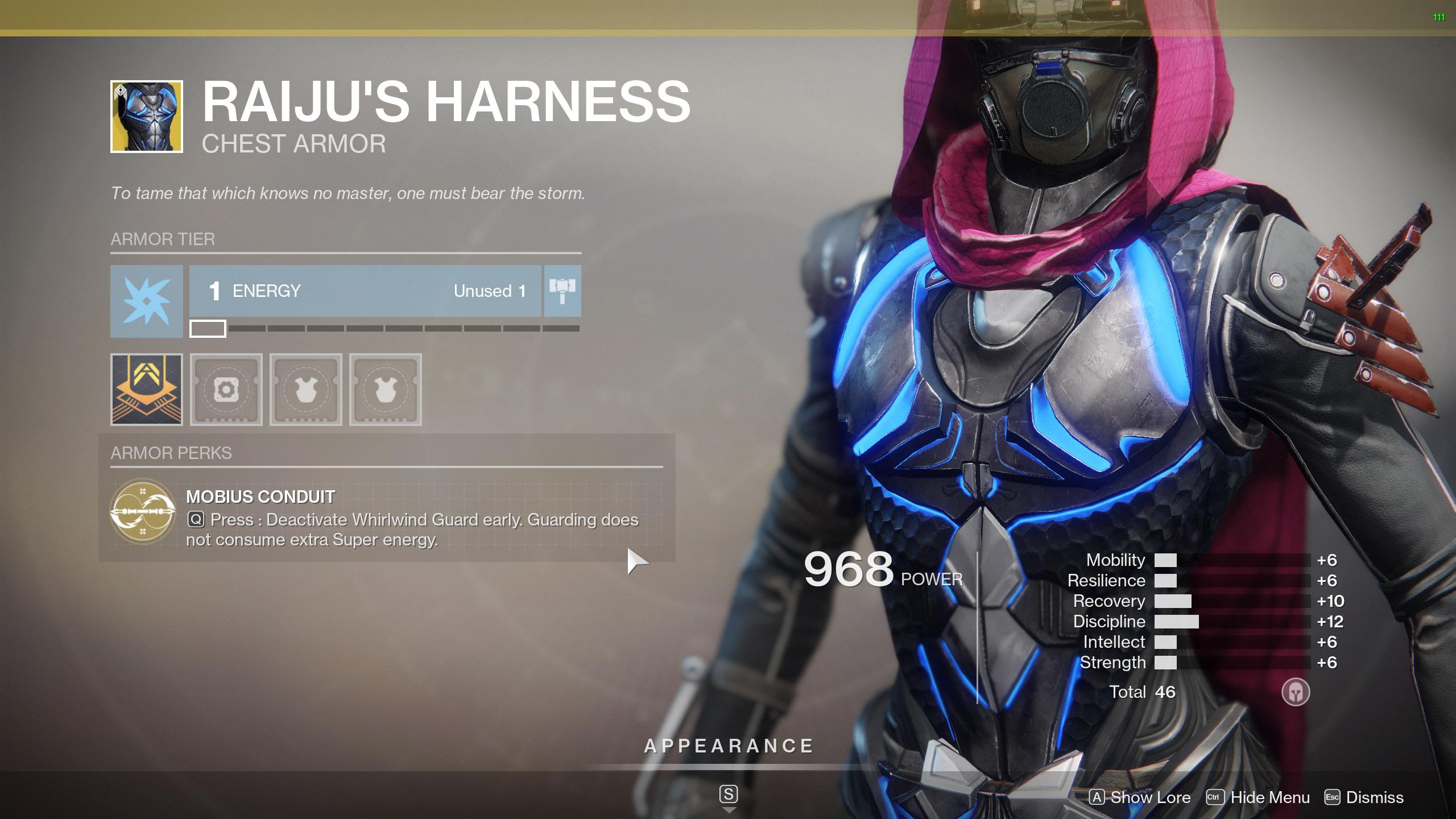 Destiny 2 Exotic Hunter armor Raiju's Harness