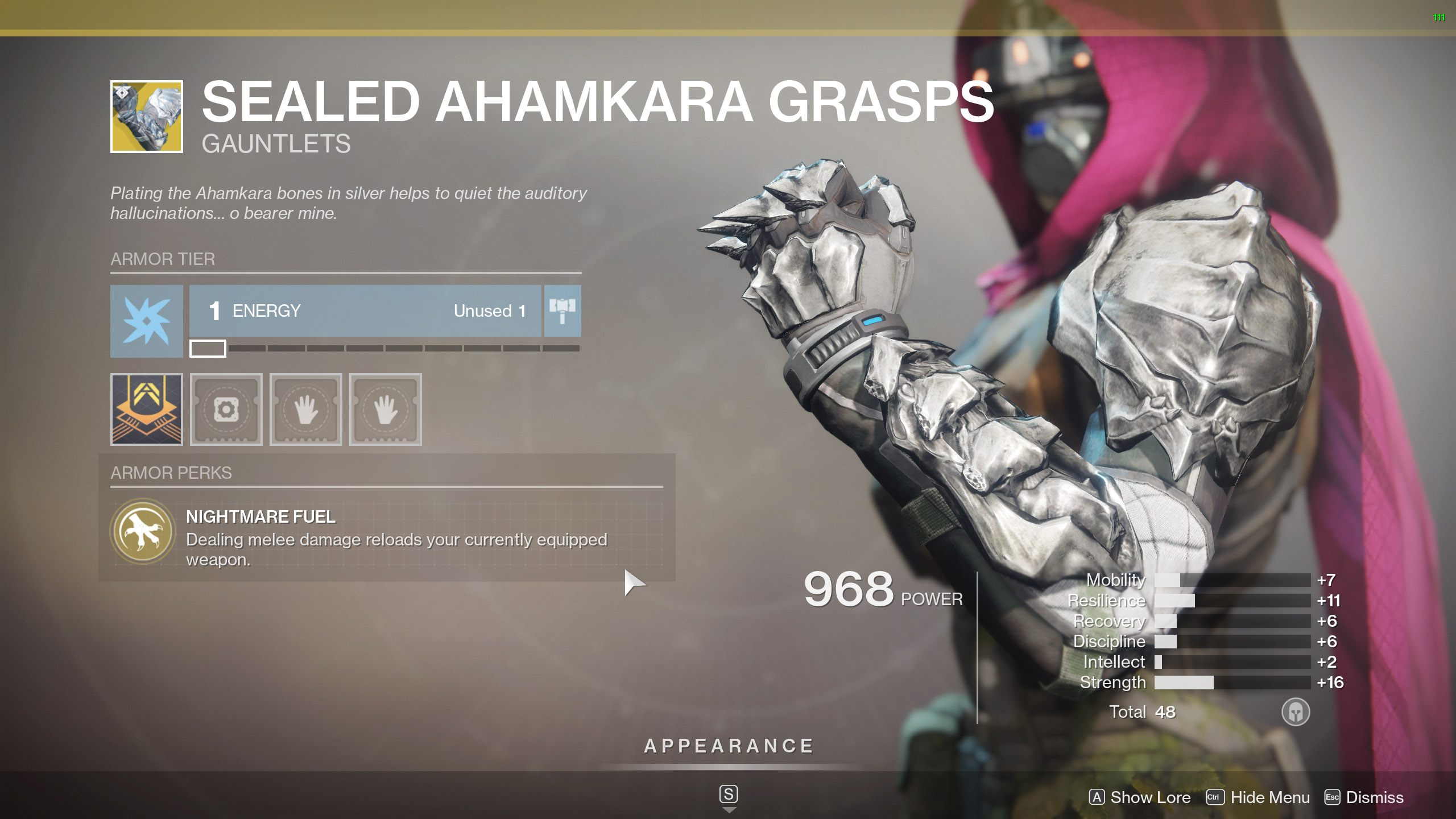 Destiny 2 Exotic Hunter armor Sealed Ahamkara Grasps