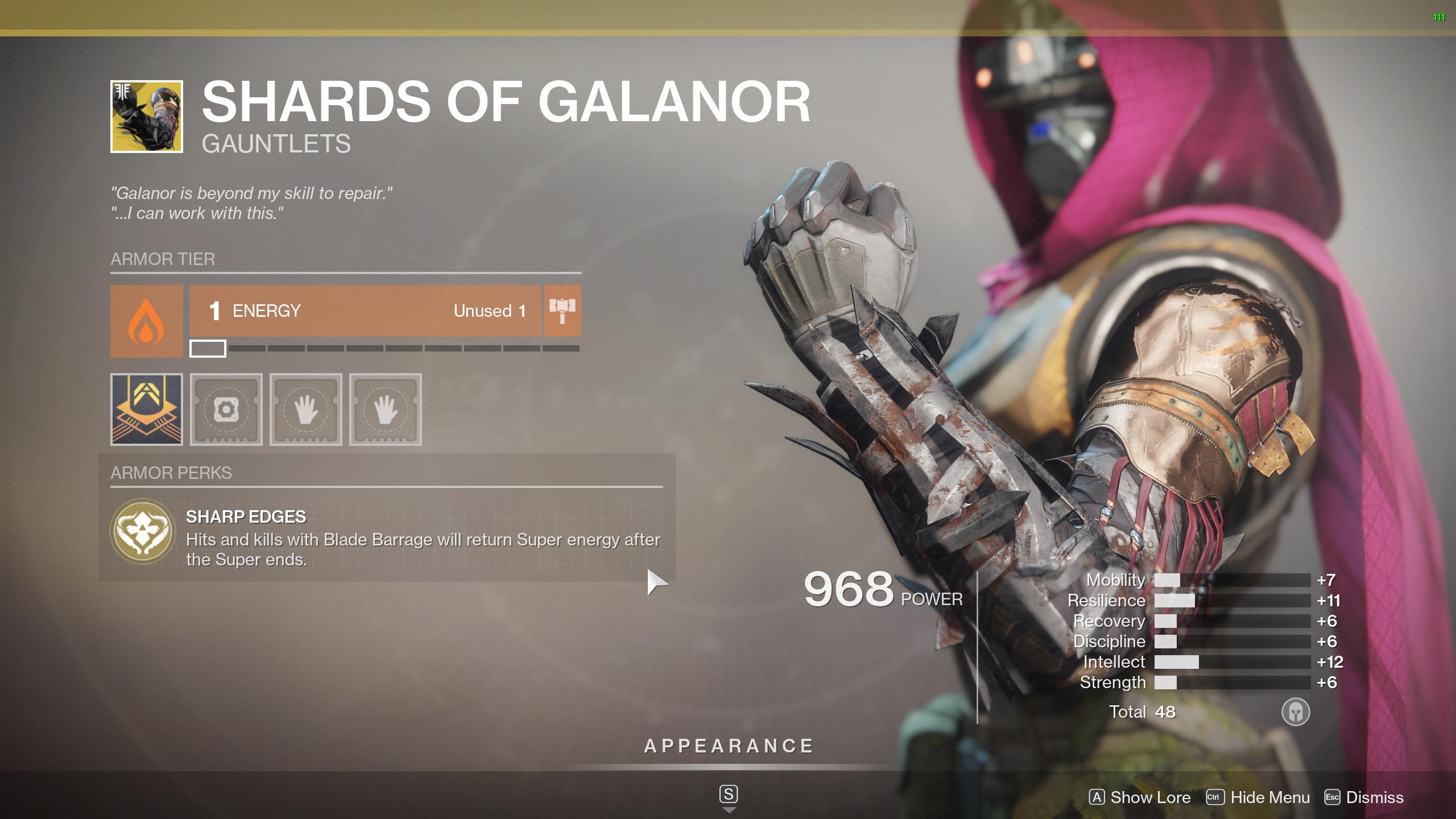 Destiny 2 Exotic Hunter armor Shards of Galanor