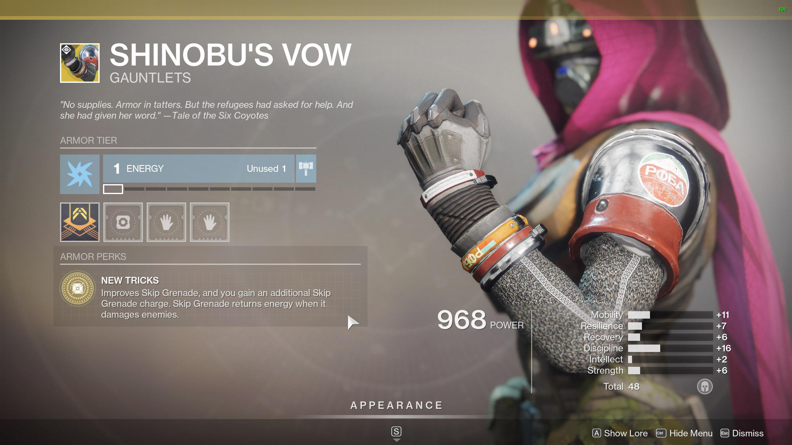 Destiny 2 Exotic Hunter armor Shinobu's Vow