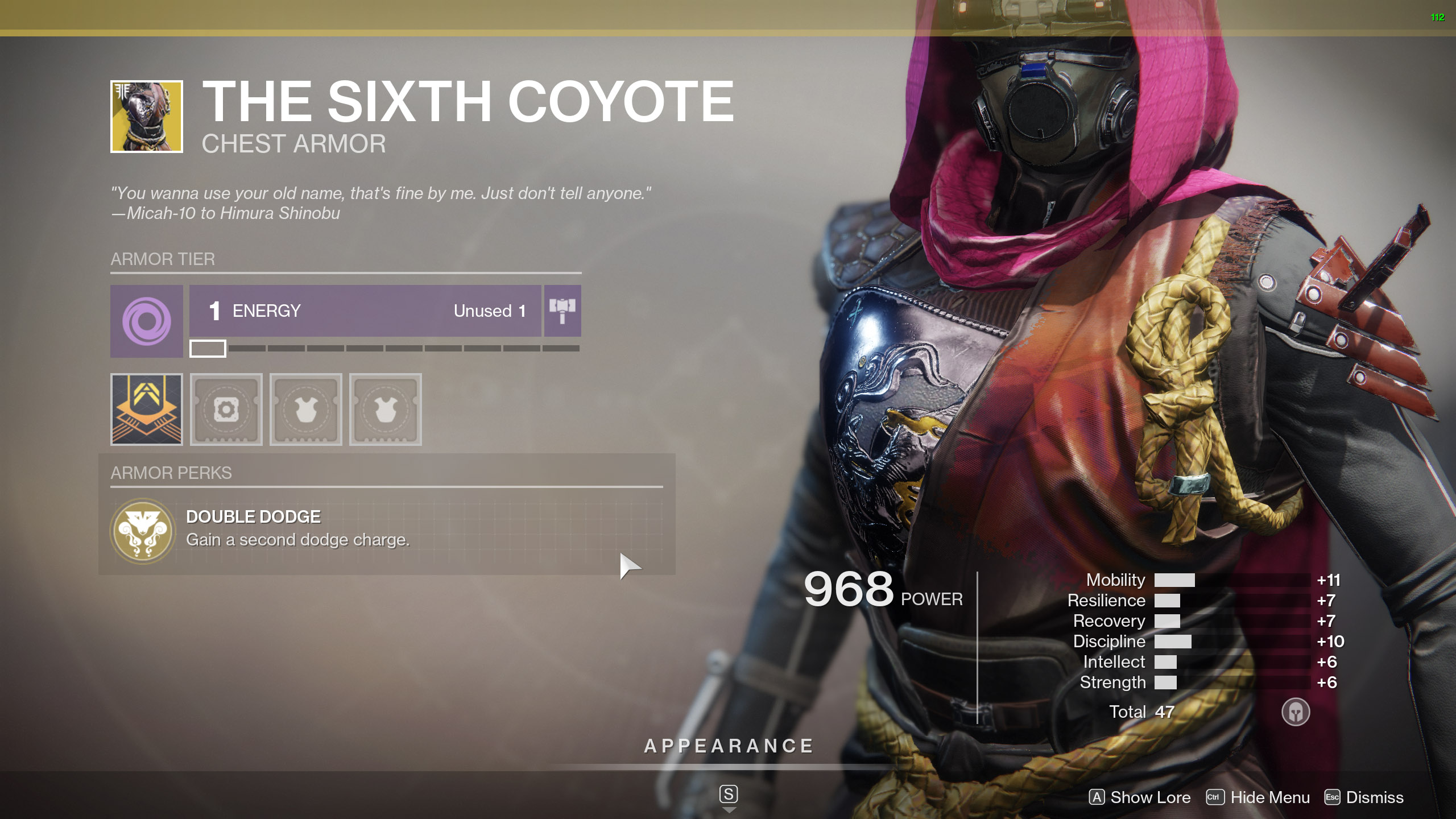 Destiny 2 Exotic Hunter armor The Sixth Coyote