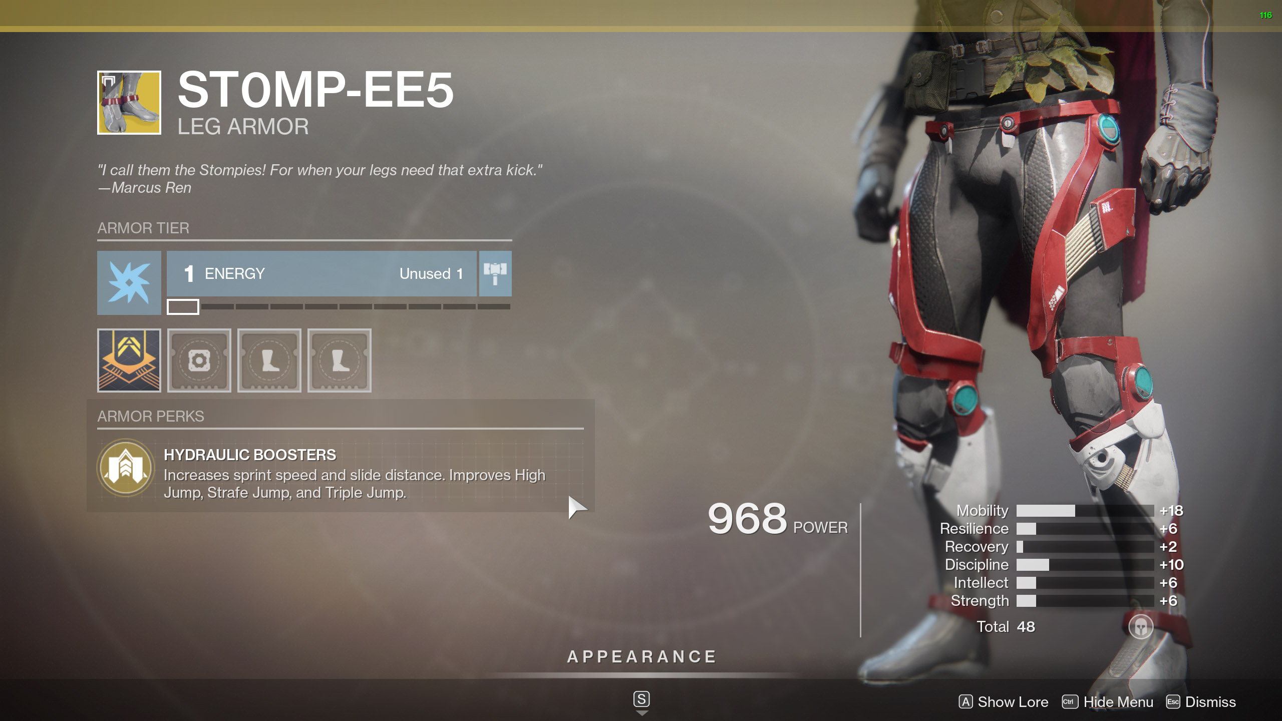Destiny 2 Exotic Hunter armor St0mp-EE5