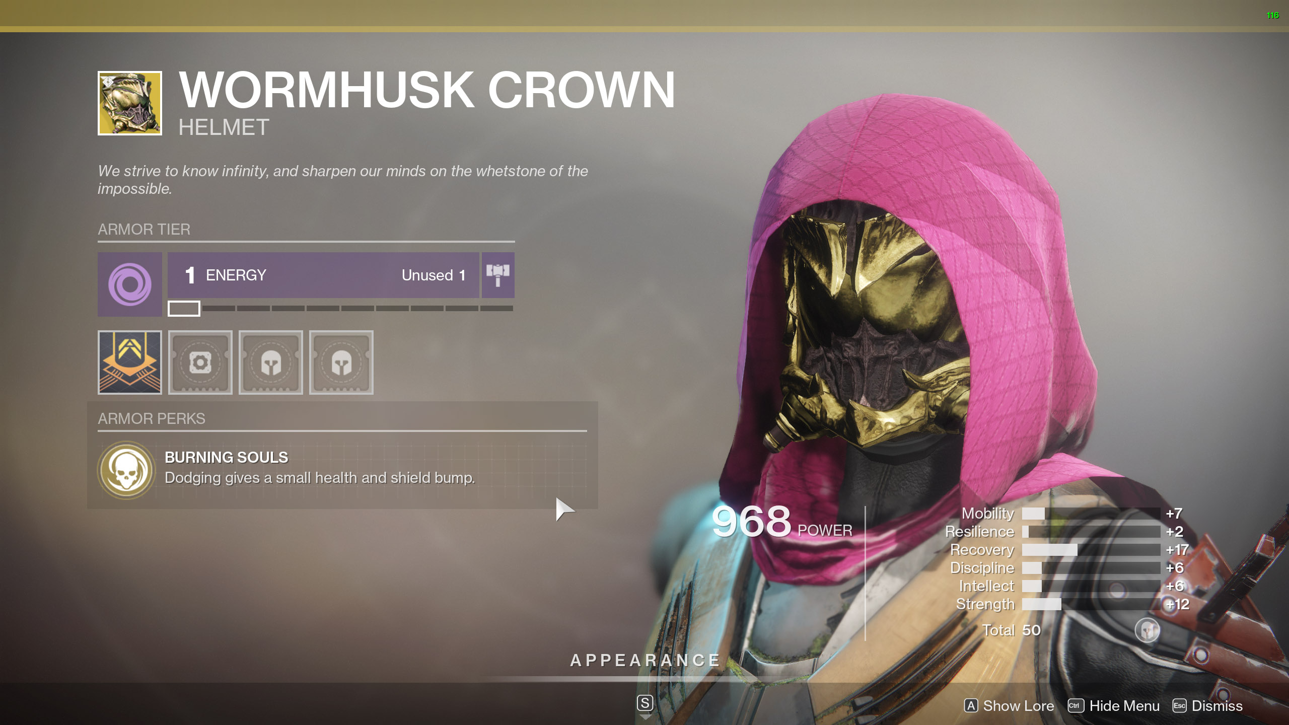 Destiny 2 Exotic Hunter armor Wormhusk Crown