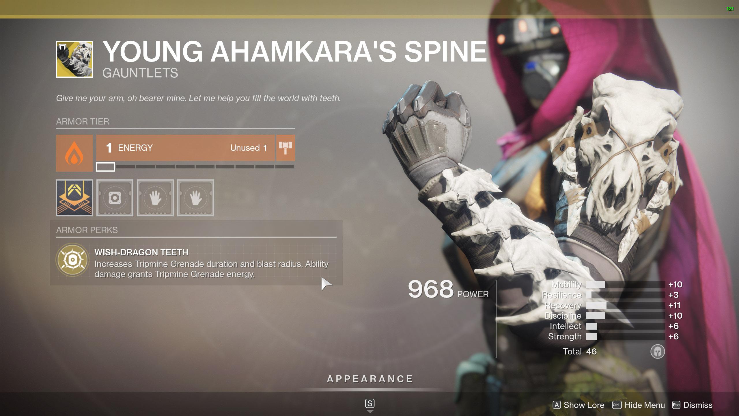 Destiny 2 Exotic Hunter armor Young Ahamkara's Spine