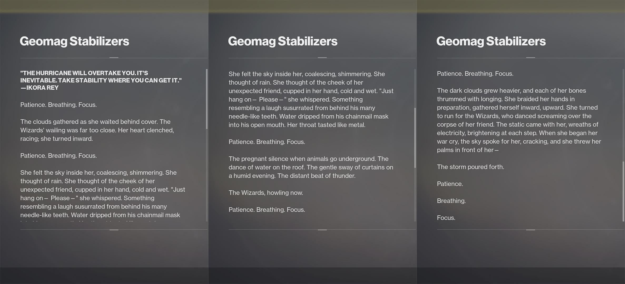 destiny 2 geomag stabilizers lore