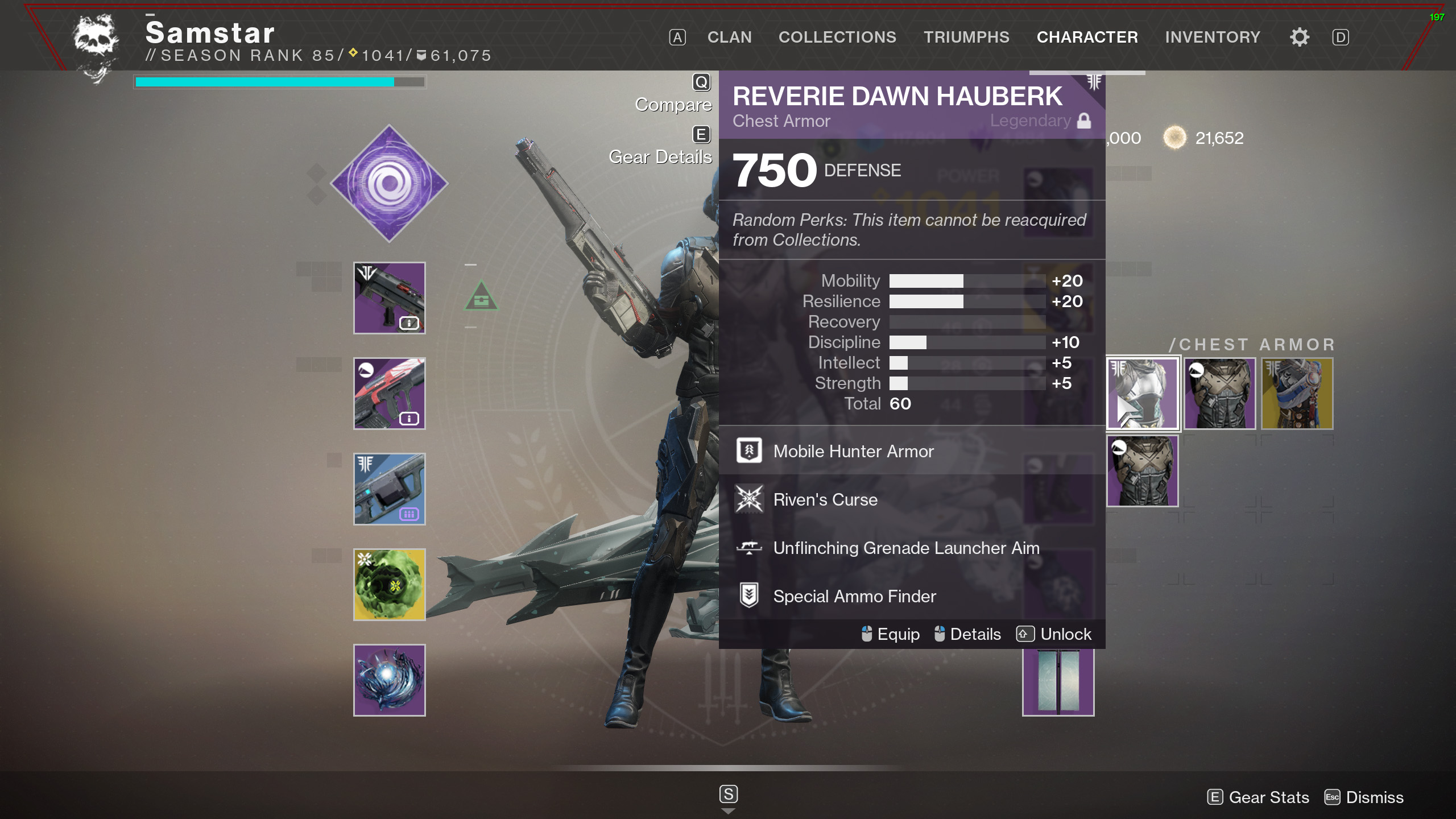 destiny 2 reverie dawn armor stats