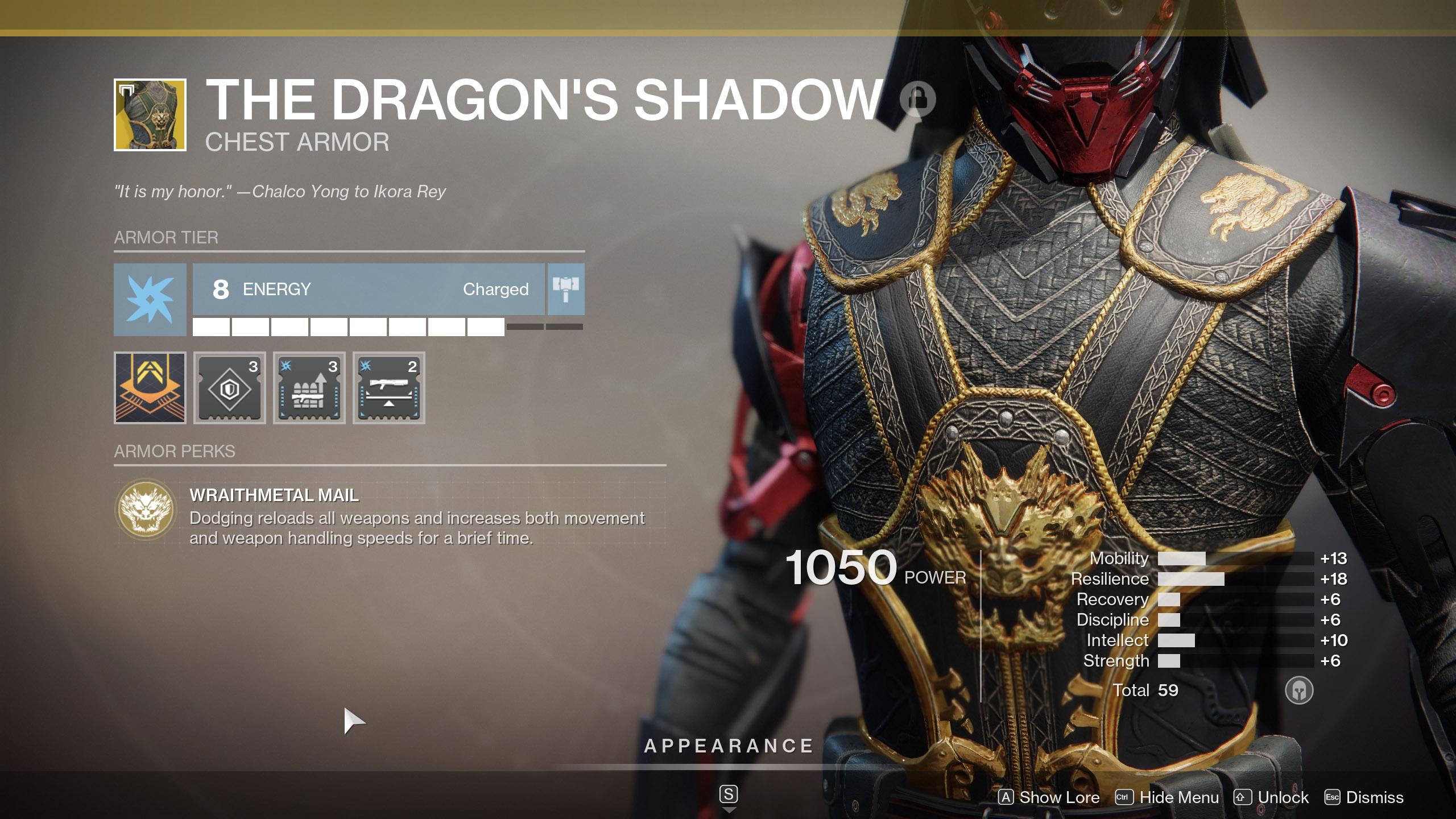Dragon's Shadow Wraithmetal Mail Destiny 2