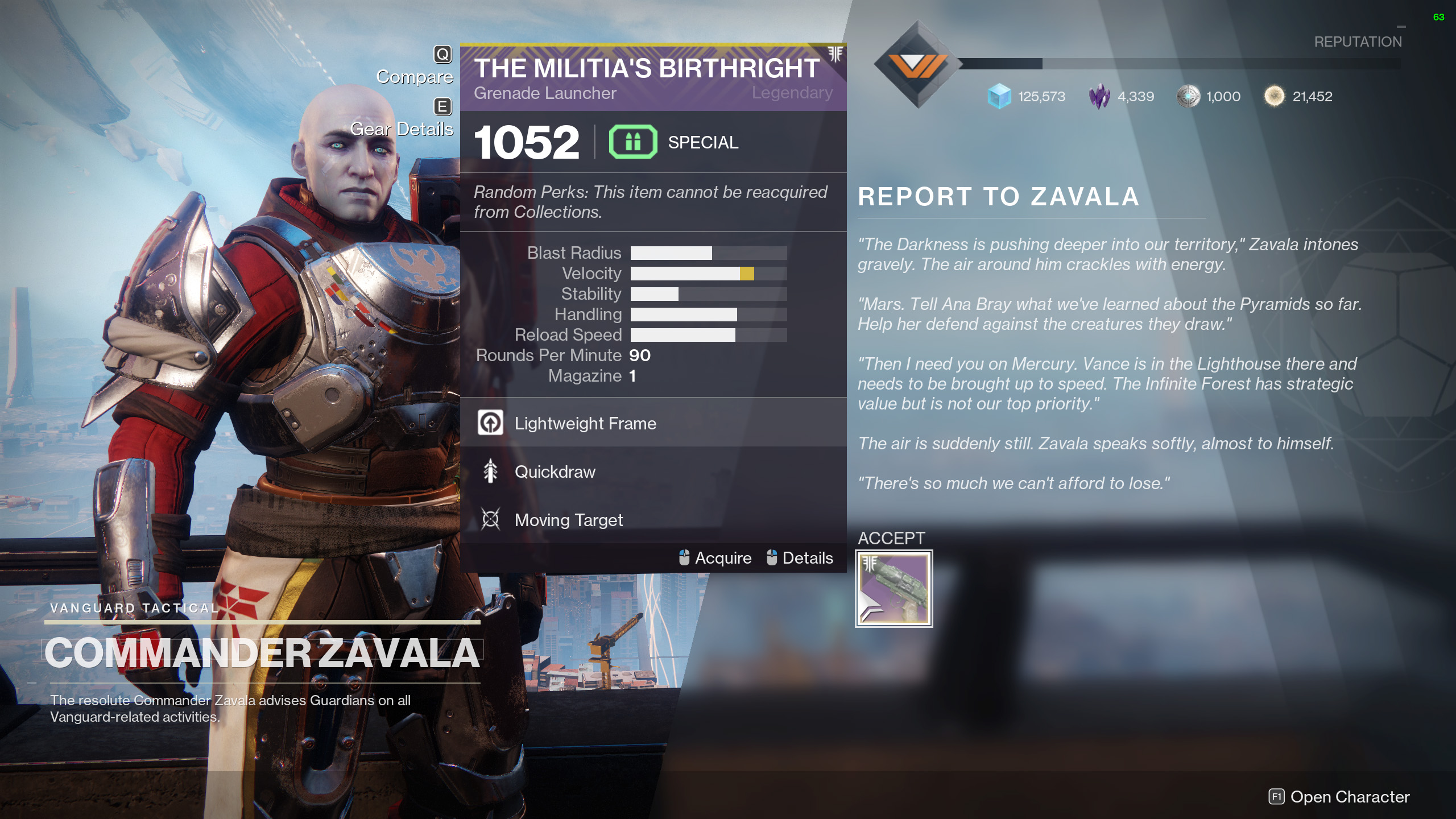Exodus Preparation Militia's Birthright destiny 2