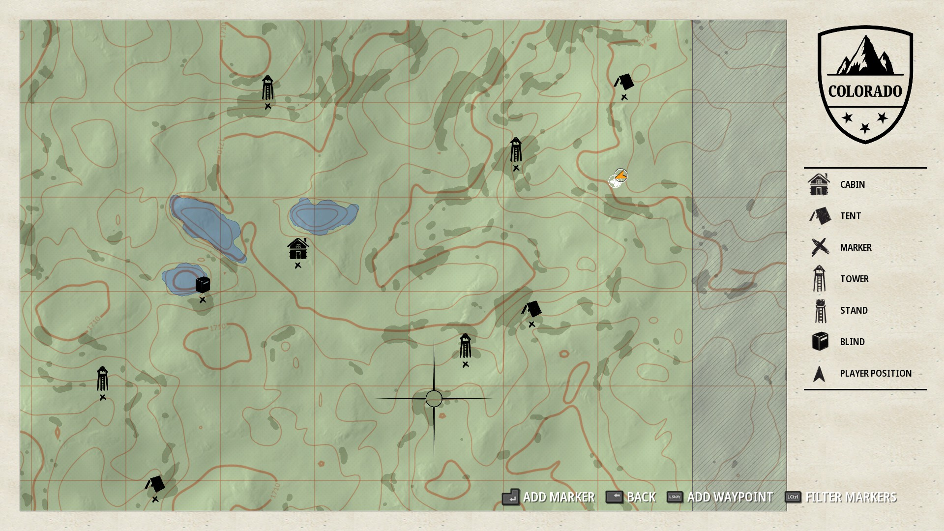 The in-game map will become populated with the camp sites, blinds, and stands you encounter while exploring.