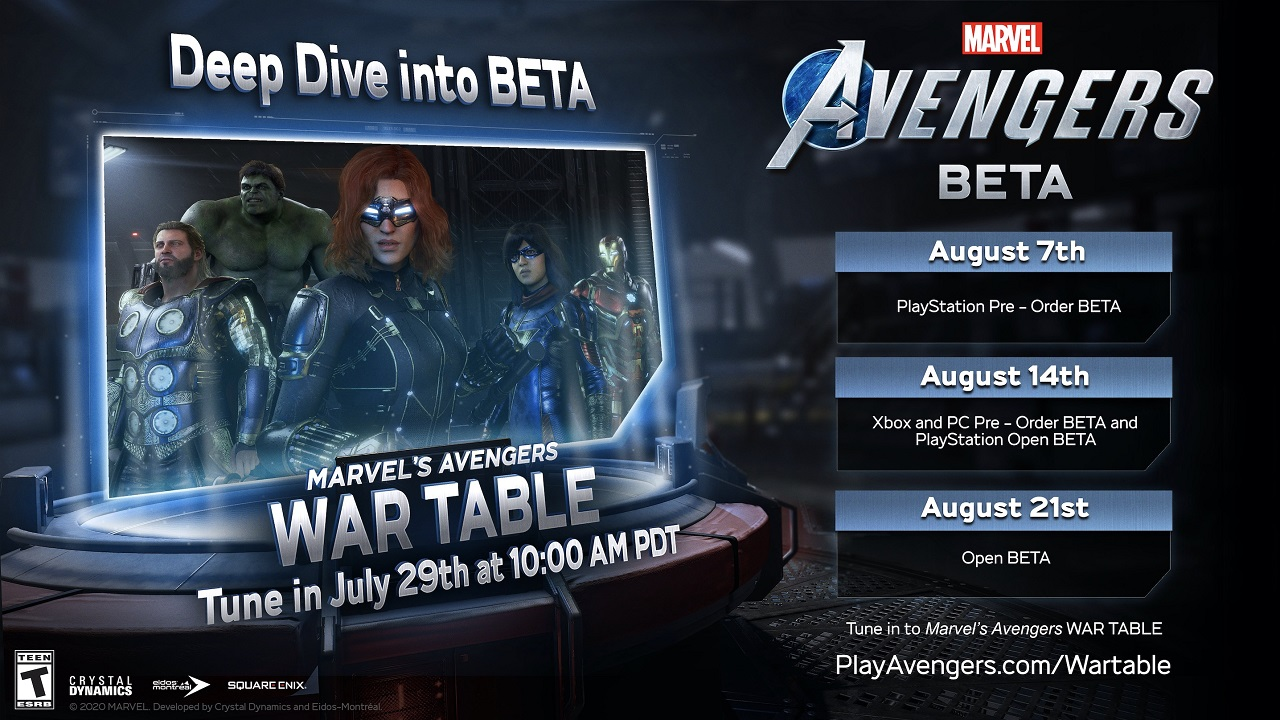 The Marvel's Avenger's War Table and open beta dates are set to take place throughout late July and all of August 2020
