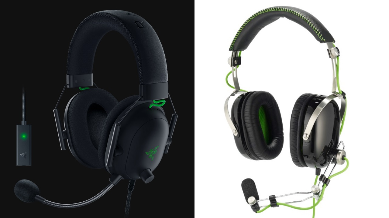 It really only takes a glance at the Razer Blackshark V2 (left) to see the vast improvement in sleek design over its predecessor, the original and somewhat clunky Blackshark (seen right).