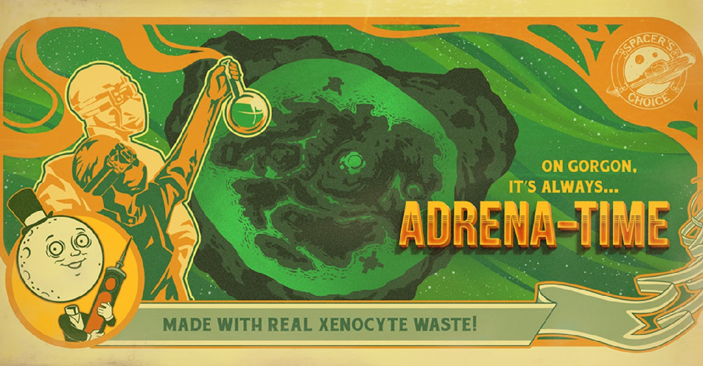 Whatever or wherever Gorgon is, it seems Spacer's Choice is pretty proud of the Adrena-Time situation they've got set up there. Could it figure heavily into The Outer Worlds DLC?