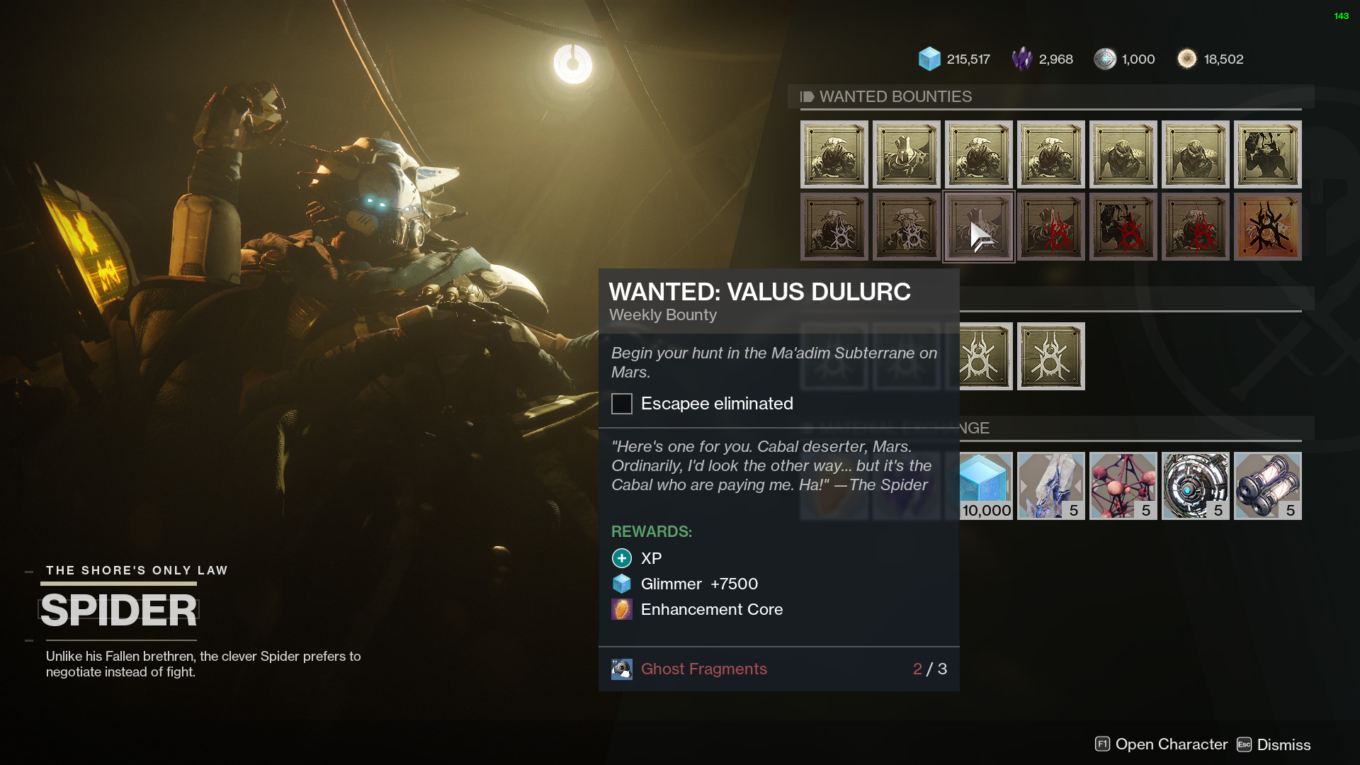 Valus Dulurc Wanted bounty Destiny 2