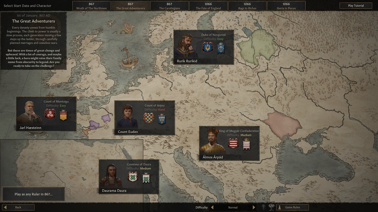Crusader Kings 3 has 30 different suggested starting rulers to choose from, but you can also choose your own across hundreds more in two eras.
