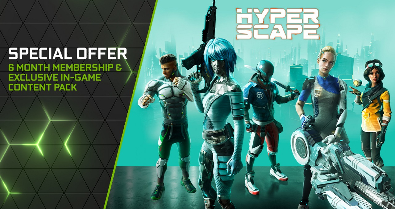 The special bundle for Hyper Scape and GeForce Now will stack for existing premium members of the latter and give them 6 more months on top of their regular subscription, as well as access to Hyper Scape Season 1 premium content.