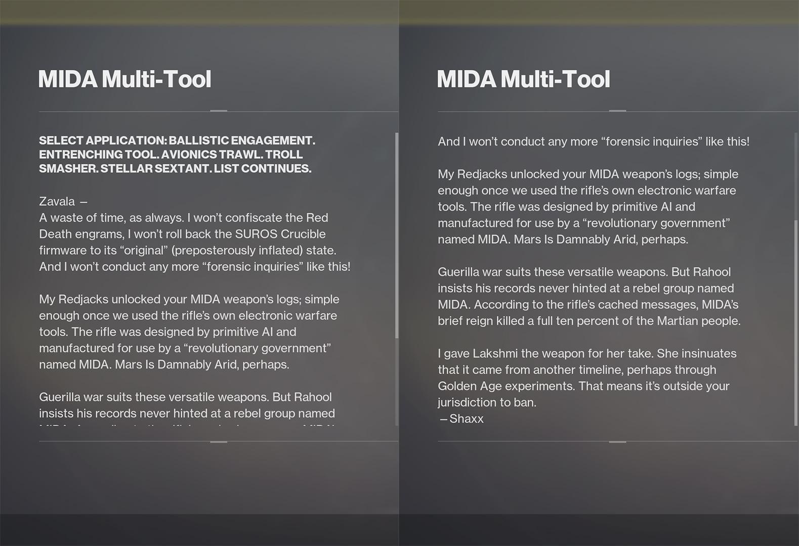 MIDA Multi-Tool lore Destiny 2