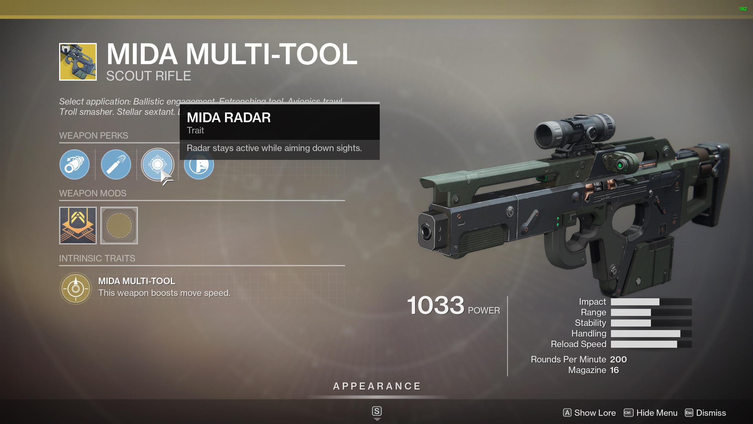 MIDA Multi-Tool perks Destiny 2