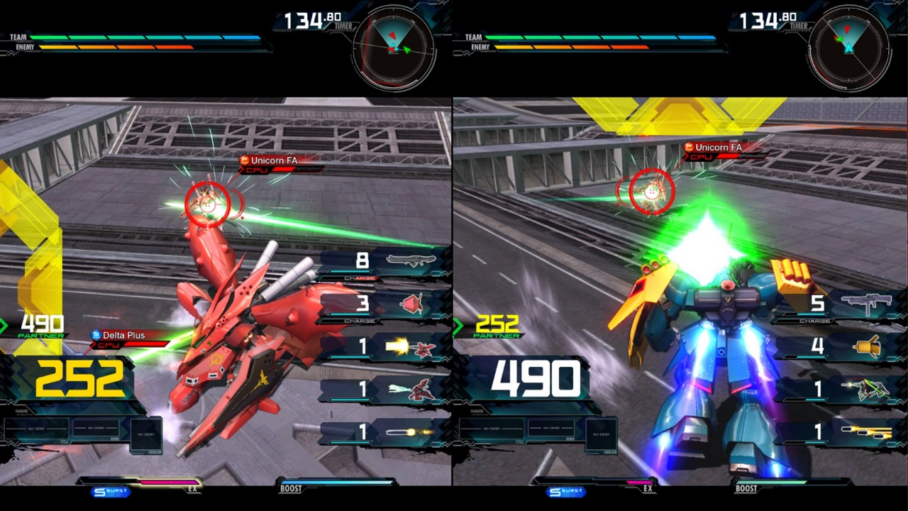 For better or worse, you're always stuck with a teammate in Mobile Suit Gundam: Extreme Vs Maxi Boost ON, so some cooperation will definitely be required on offense and defense.
