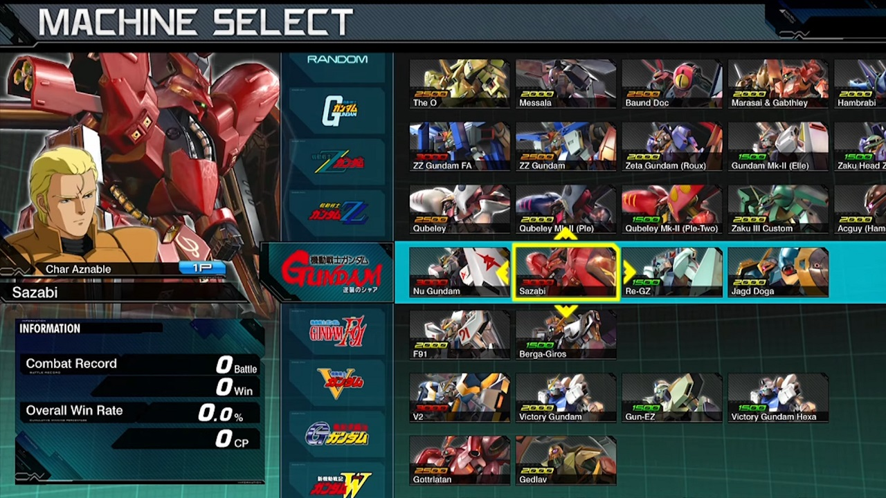 The vast roster of Mobile Suit Gundam: Extreme Vs Maxi Boost ON features mechs and pilots from across decades of the franchise, including movies like Char's Counterattack.