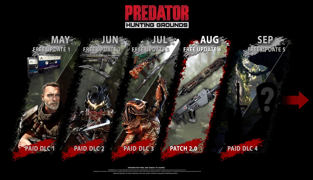 It's been a cavalcade of goods leading up to Patch 2.0 on Predator: Hunting Grounds development roadmap, and more good content is on the way this month and in September.